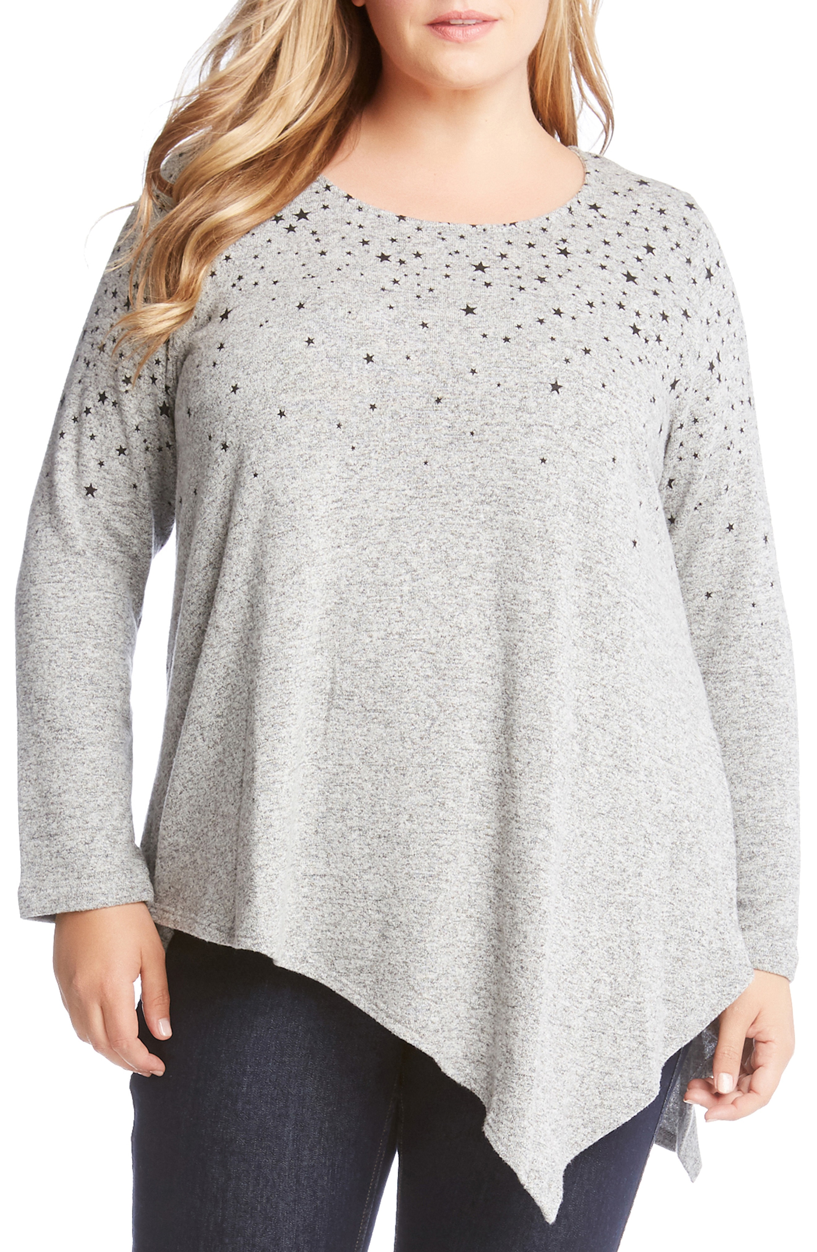 Karen Kane Asymmetrical Star Print Sweater (Plus Size)