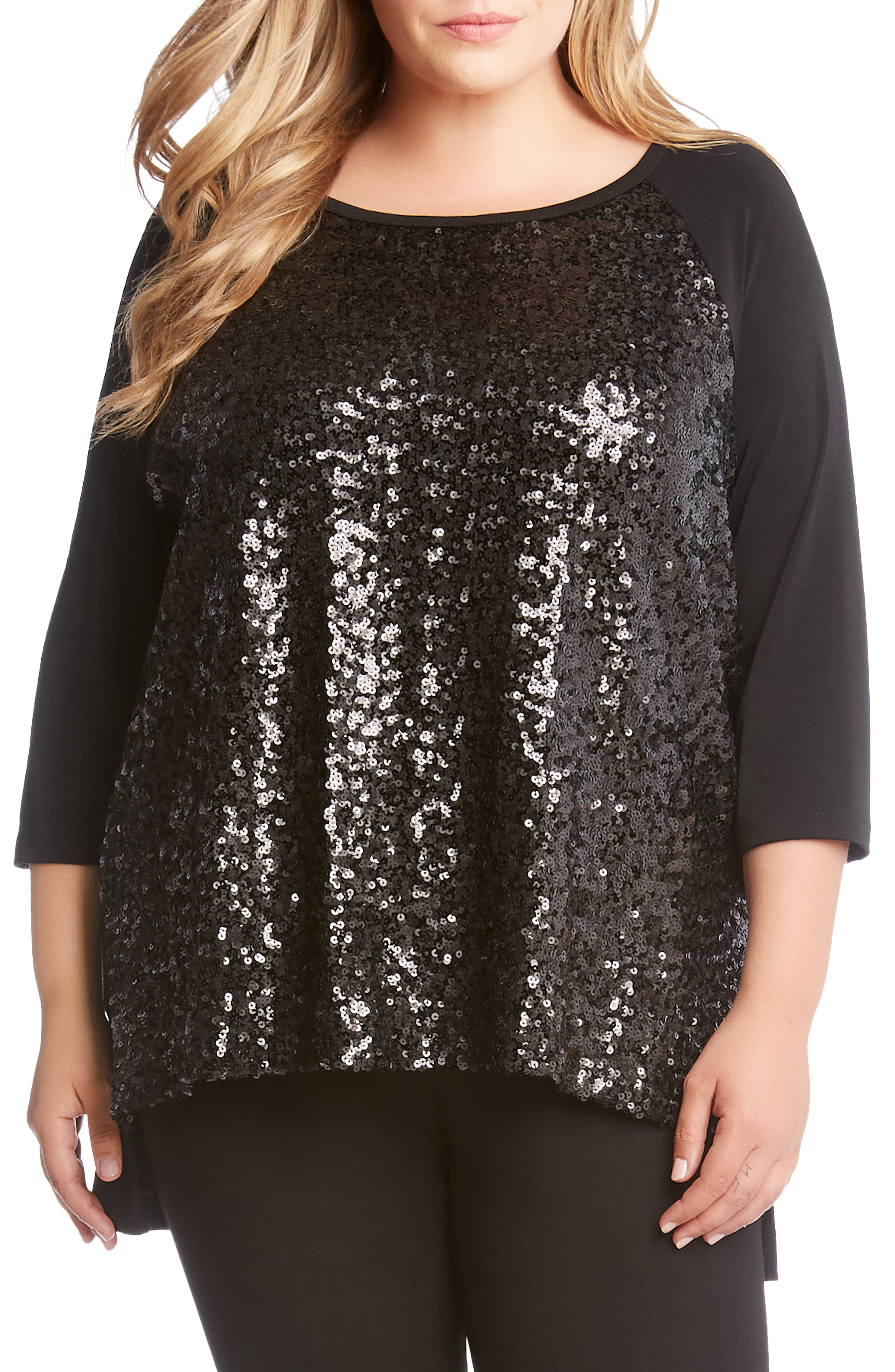 Karen Kane High/Low Sequin Top (Plus Size)