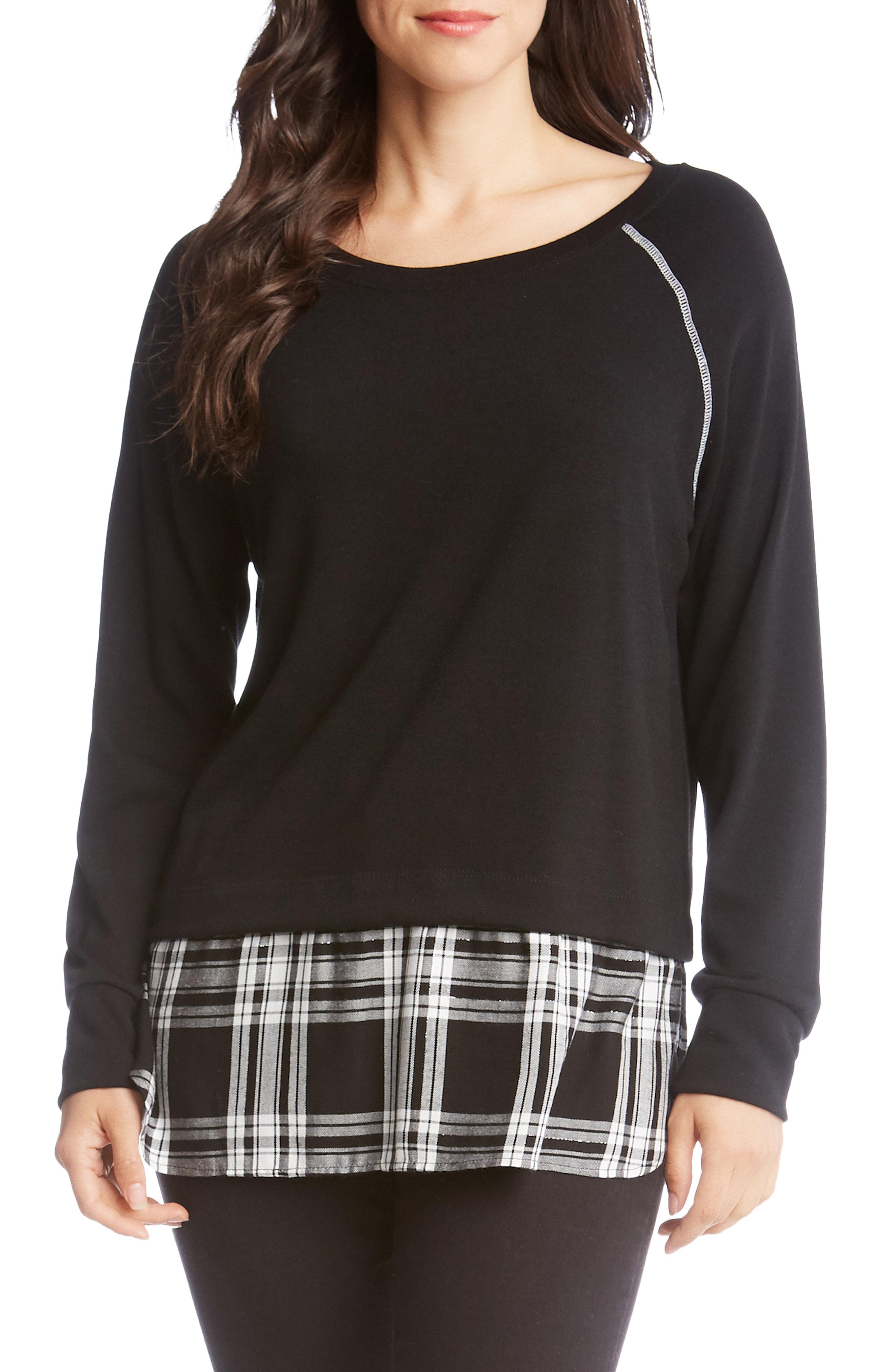 Karen Kane Plaid Hem Sweater