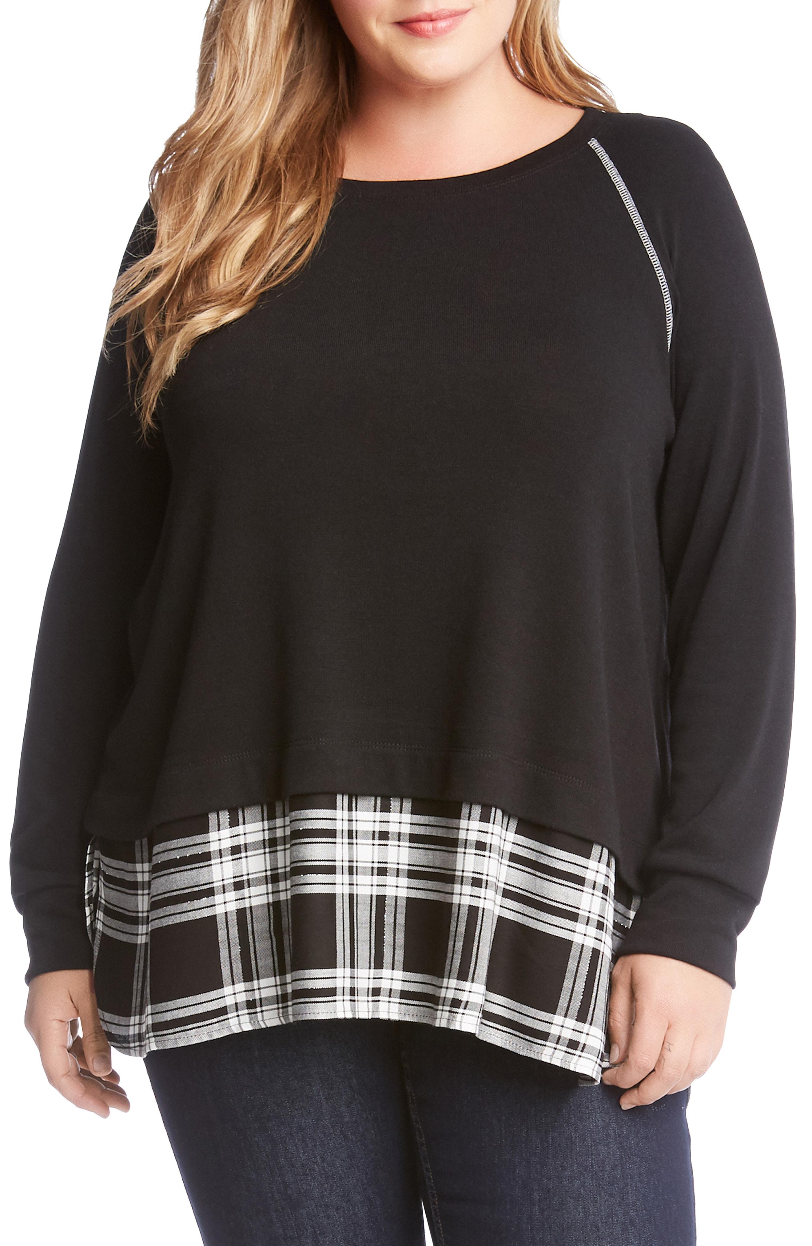 Karen Kane Plaid Hem Sweater (Plus Size)