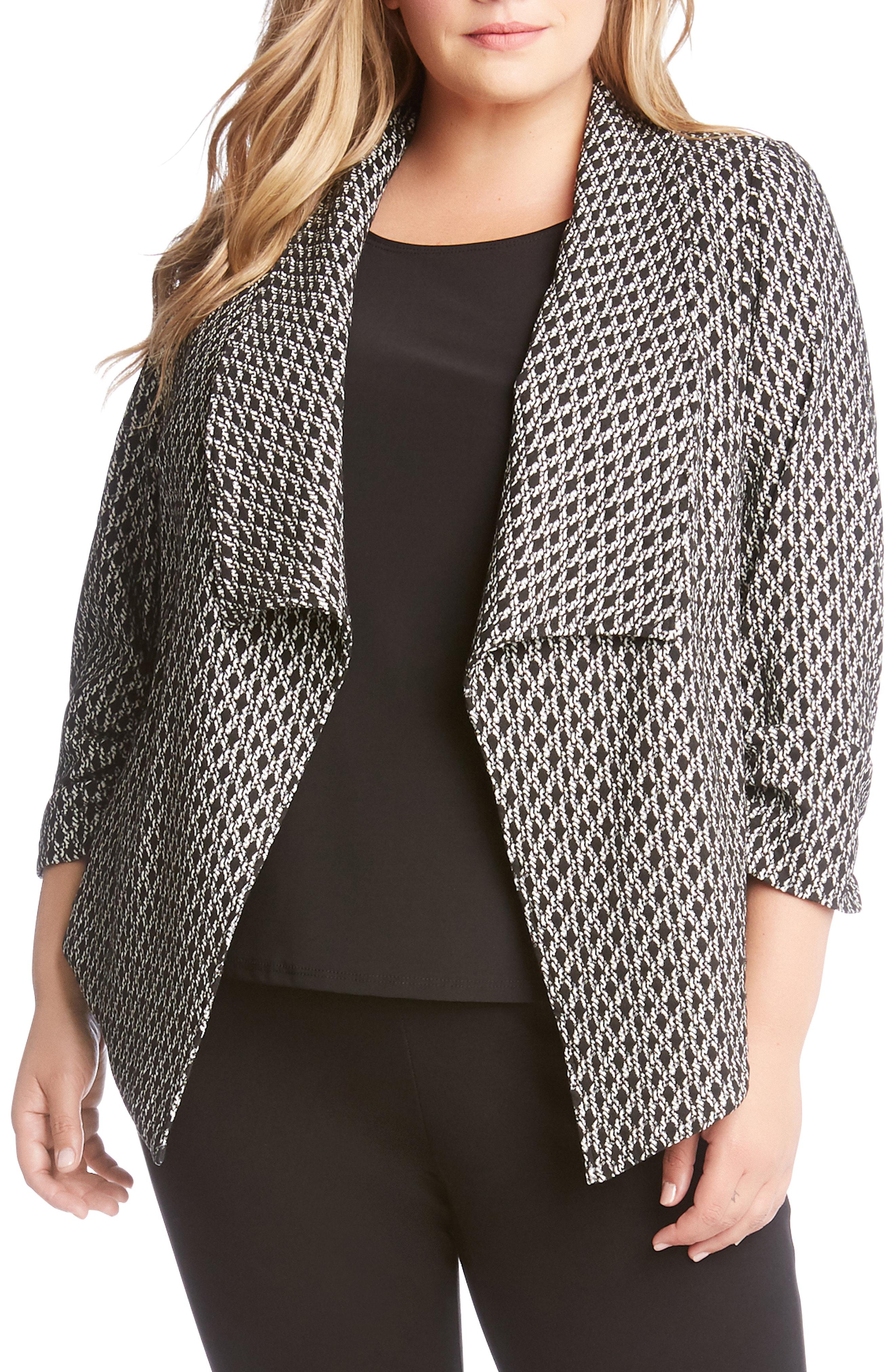 Karen Kane Shirred Sleeve Blazer (Plus Size)