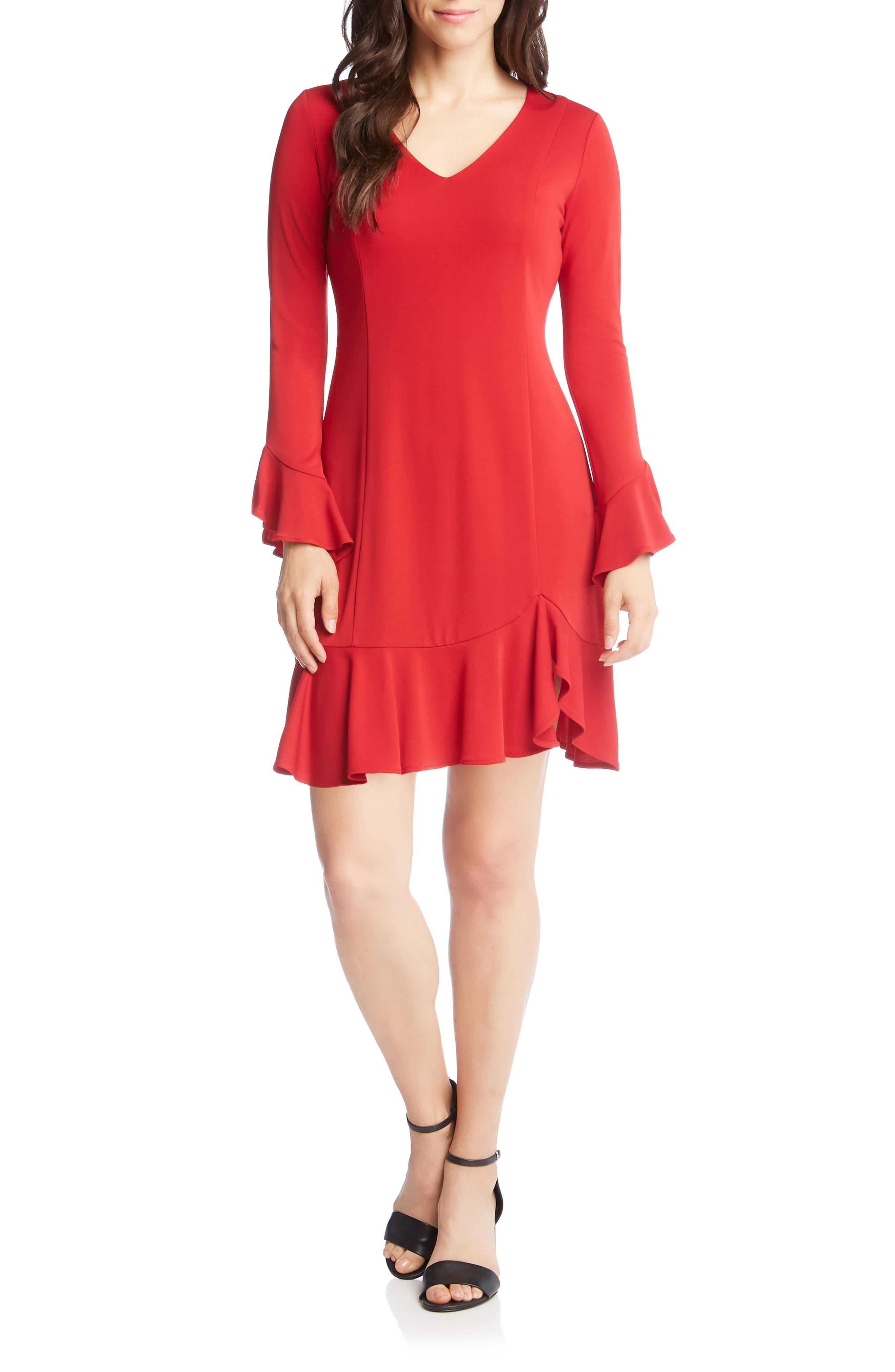 Karen Kane Sienna Ruffle Trim Dress