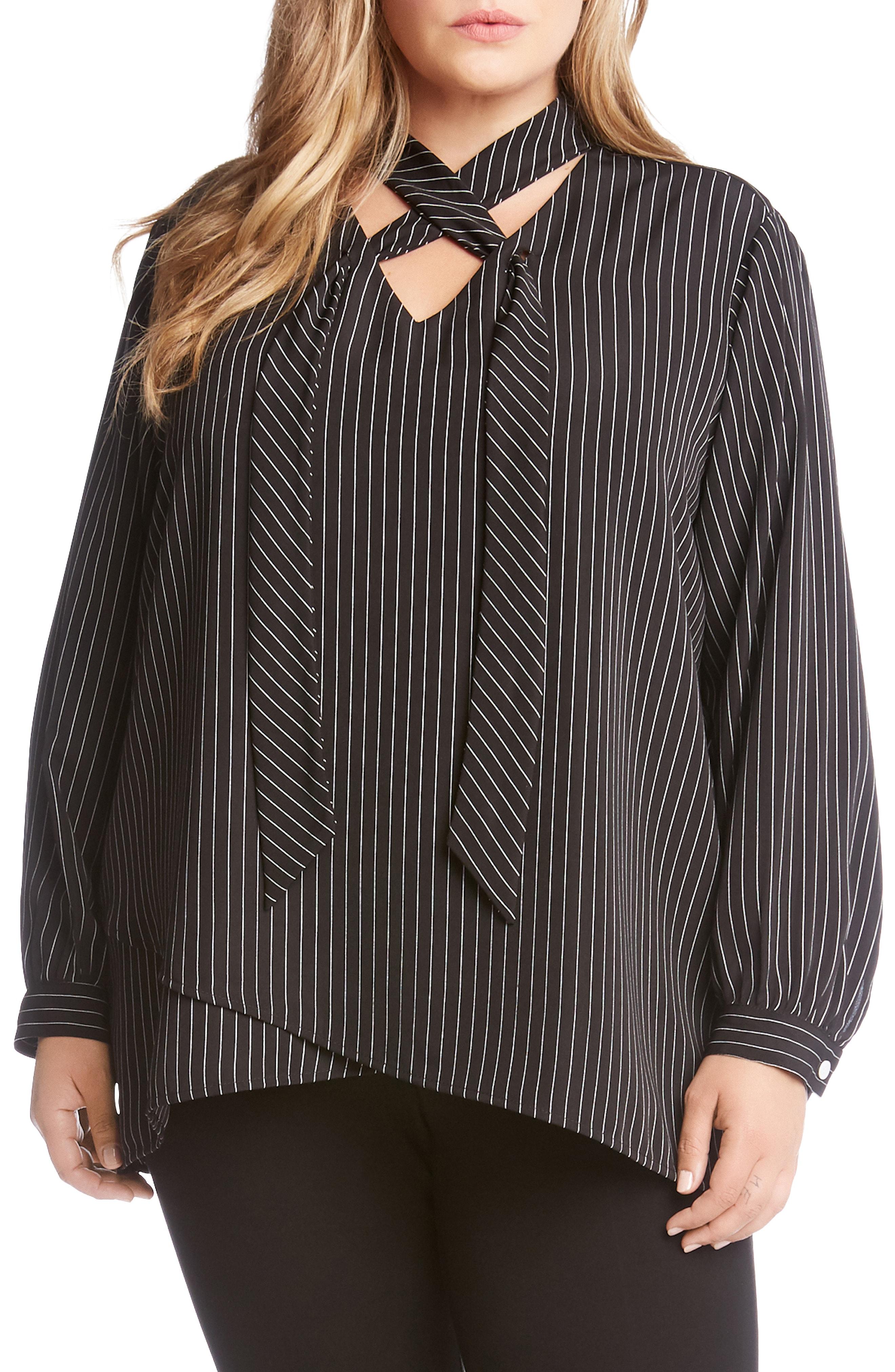 Karen Kane Stripe Tie Neck Crossover Top (Plus Size)