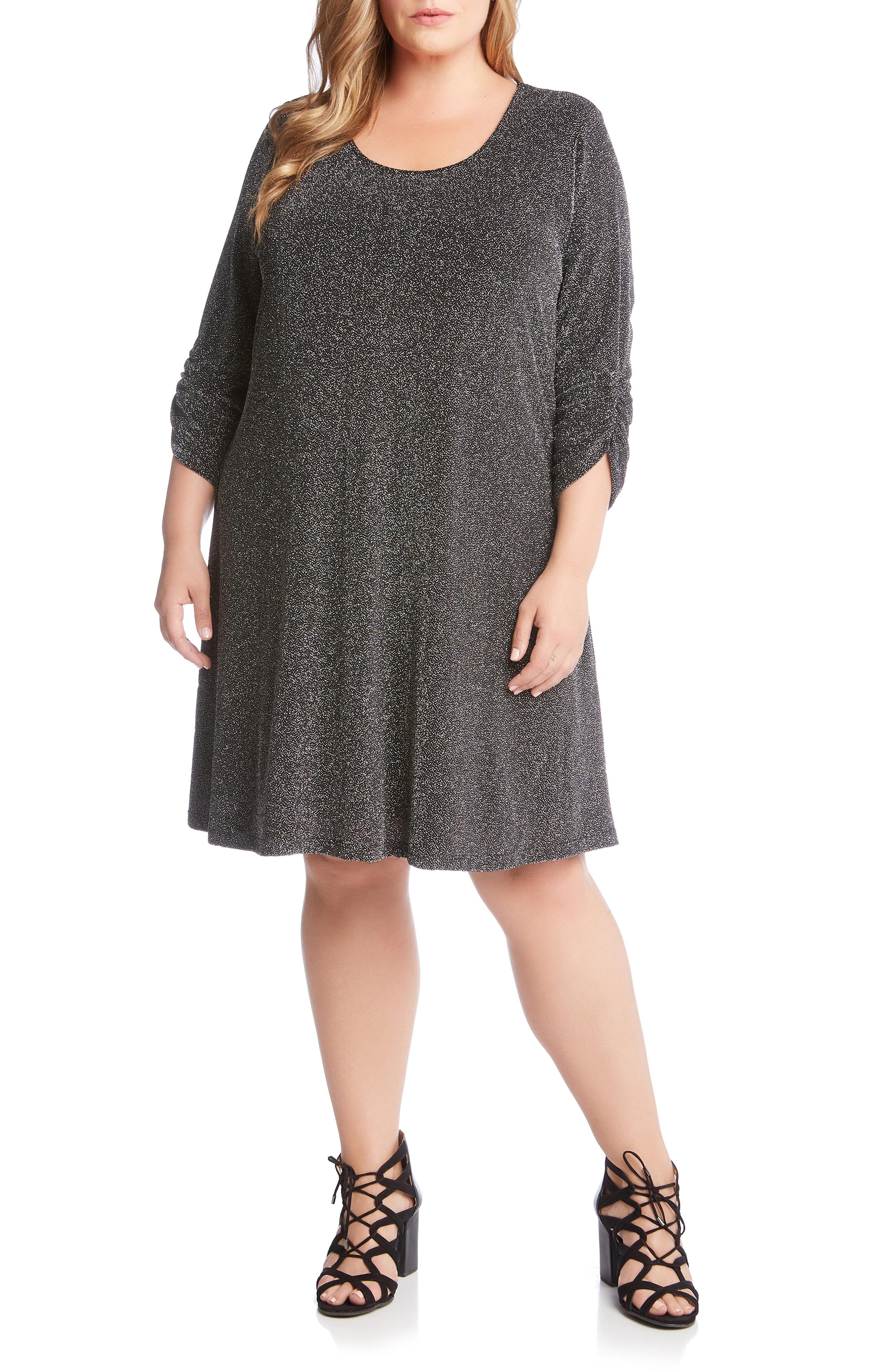 Karen Kane Taylor Metallic A-Line Dress (Plus Size)