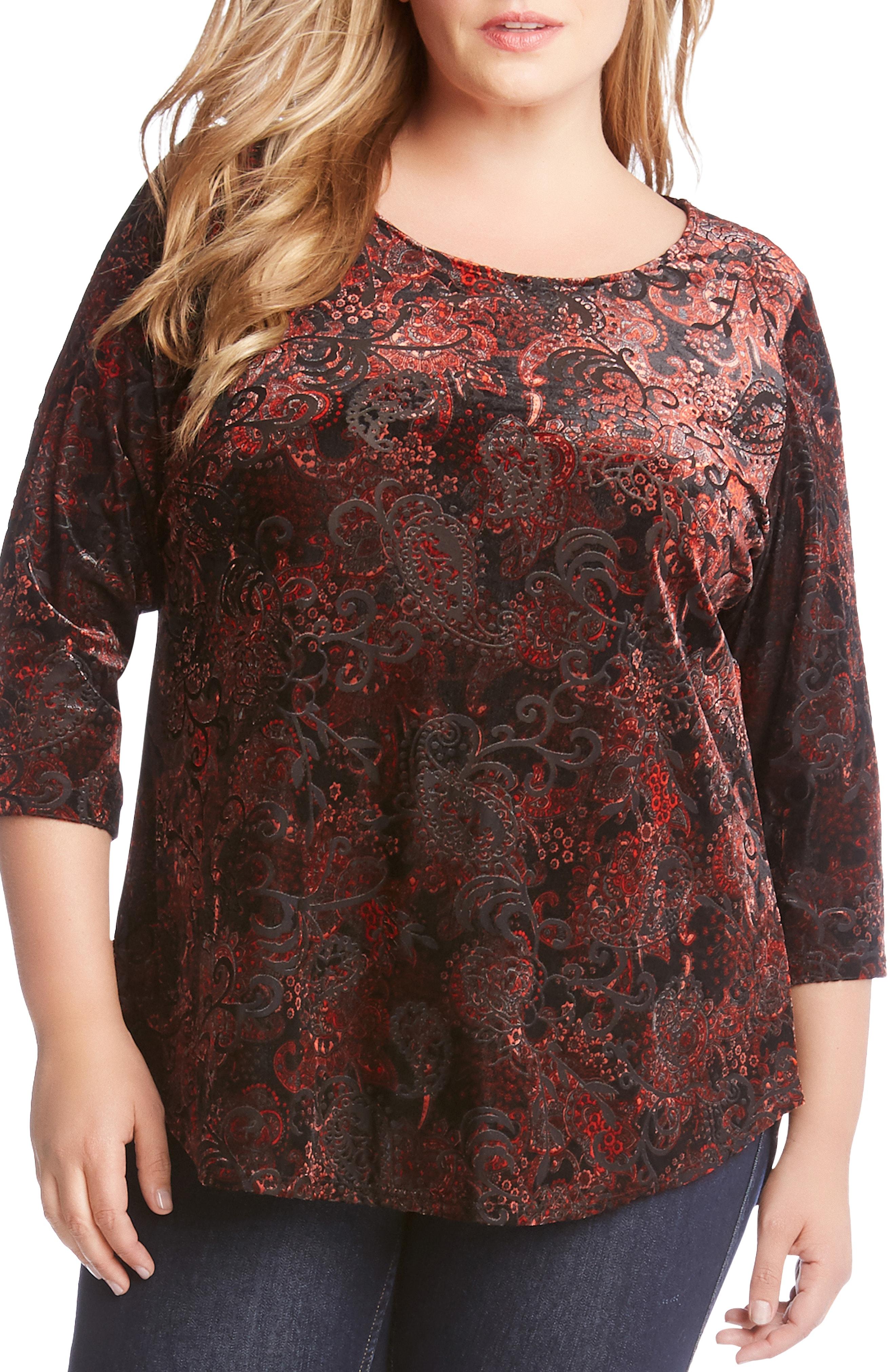 Karen Kane Velvet Burnout Shirttail Top (Plus Size)