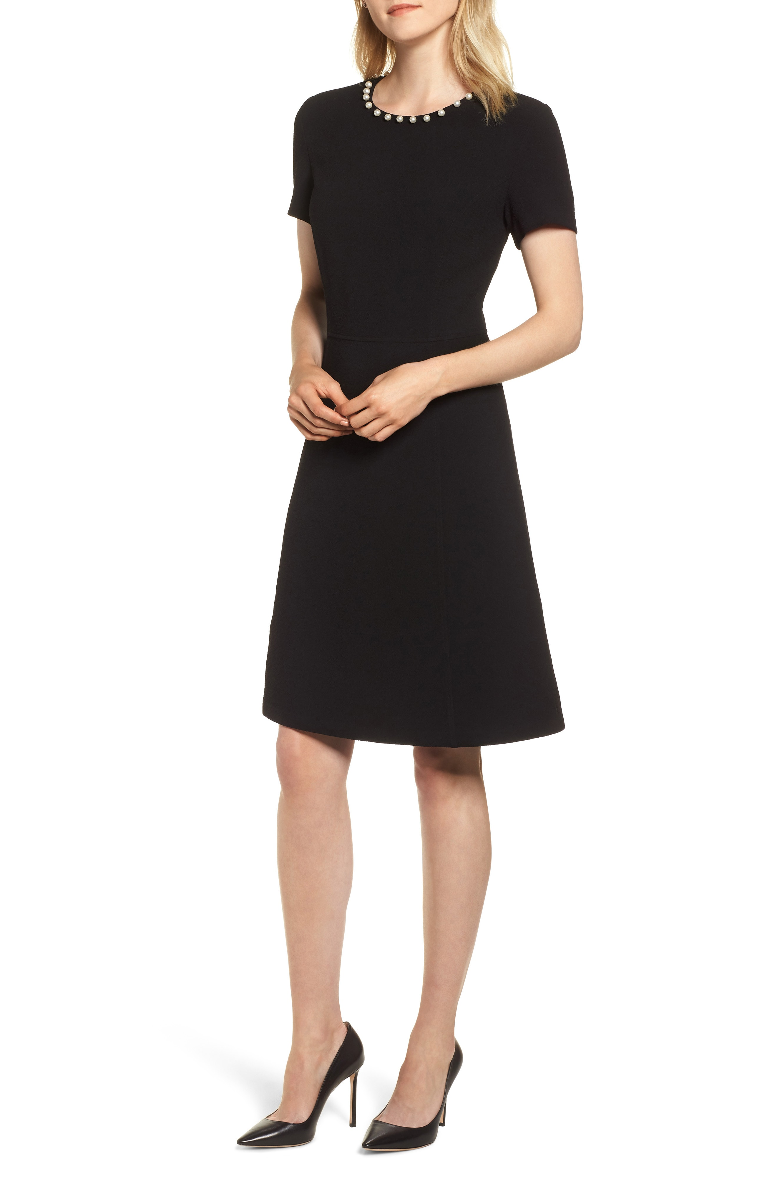 KARL LAGERFELD PARIS Pearly Necklace Fit & Flare Dress