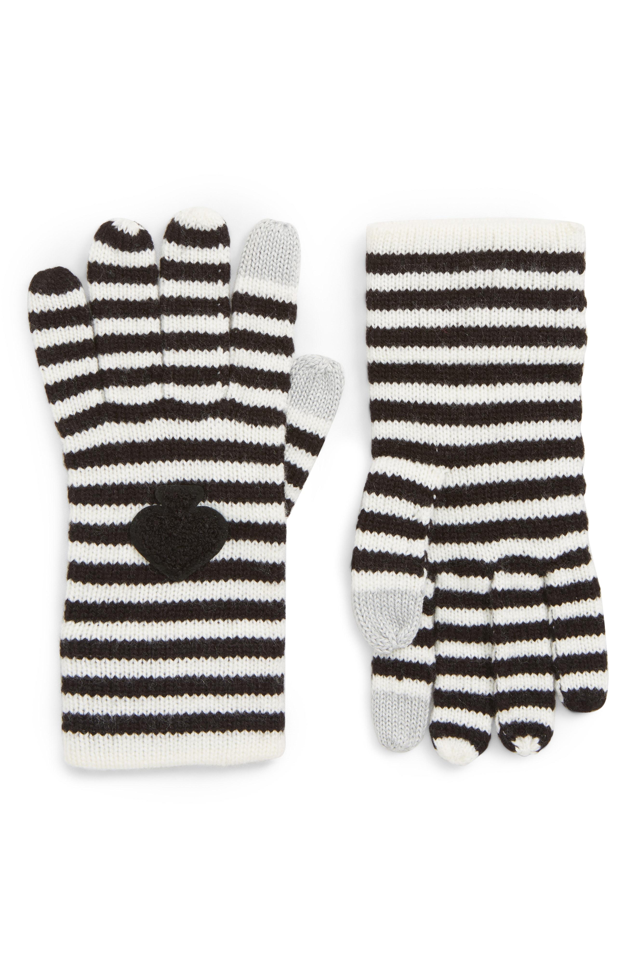 kate spade new york stripe tech gloves