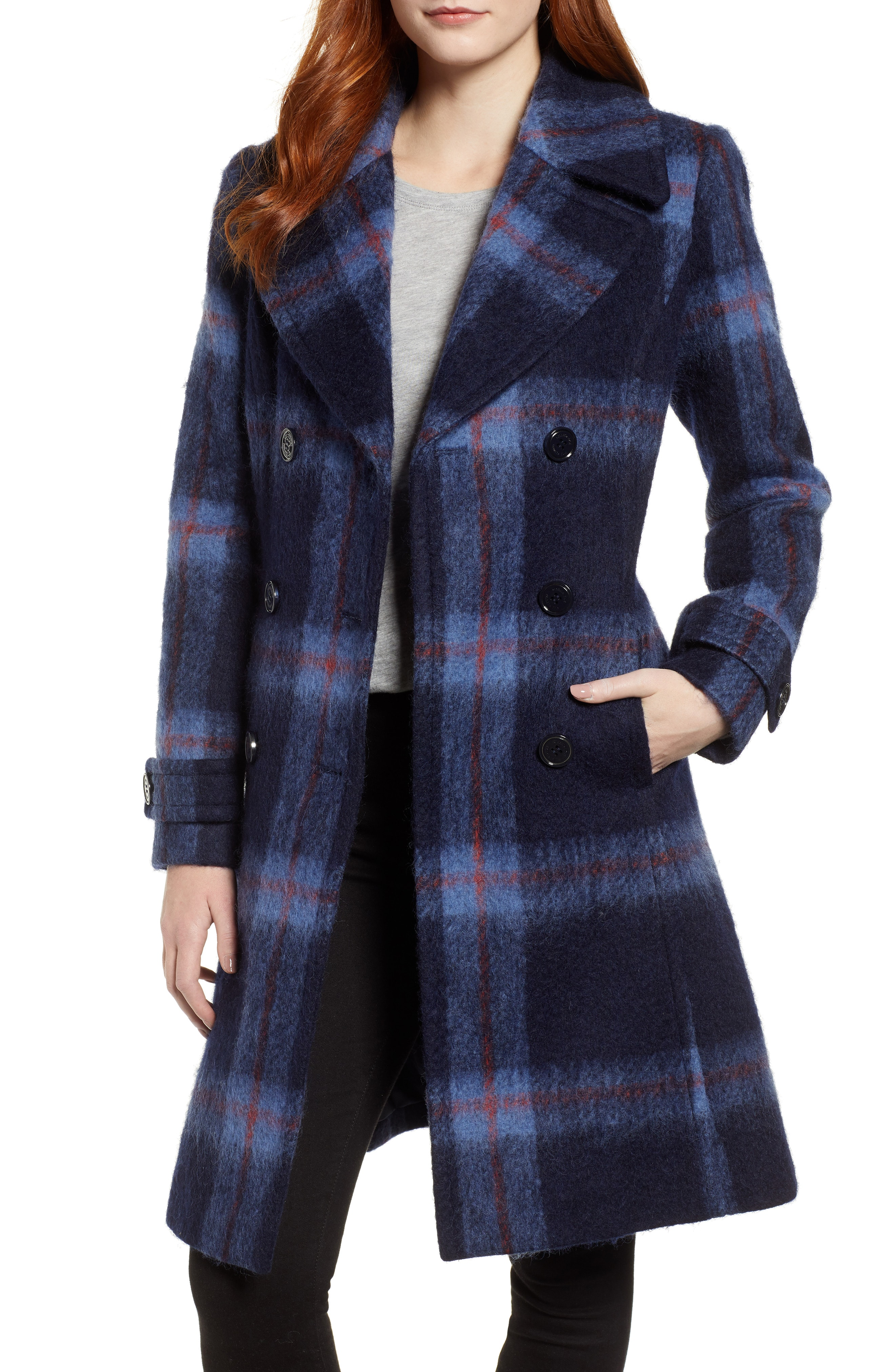 Kenneth Cole New York Brushed Plaid A-Line Coat