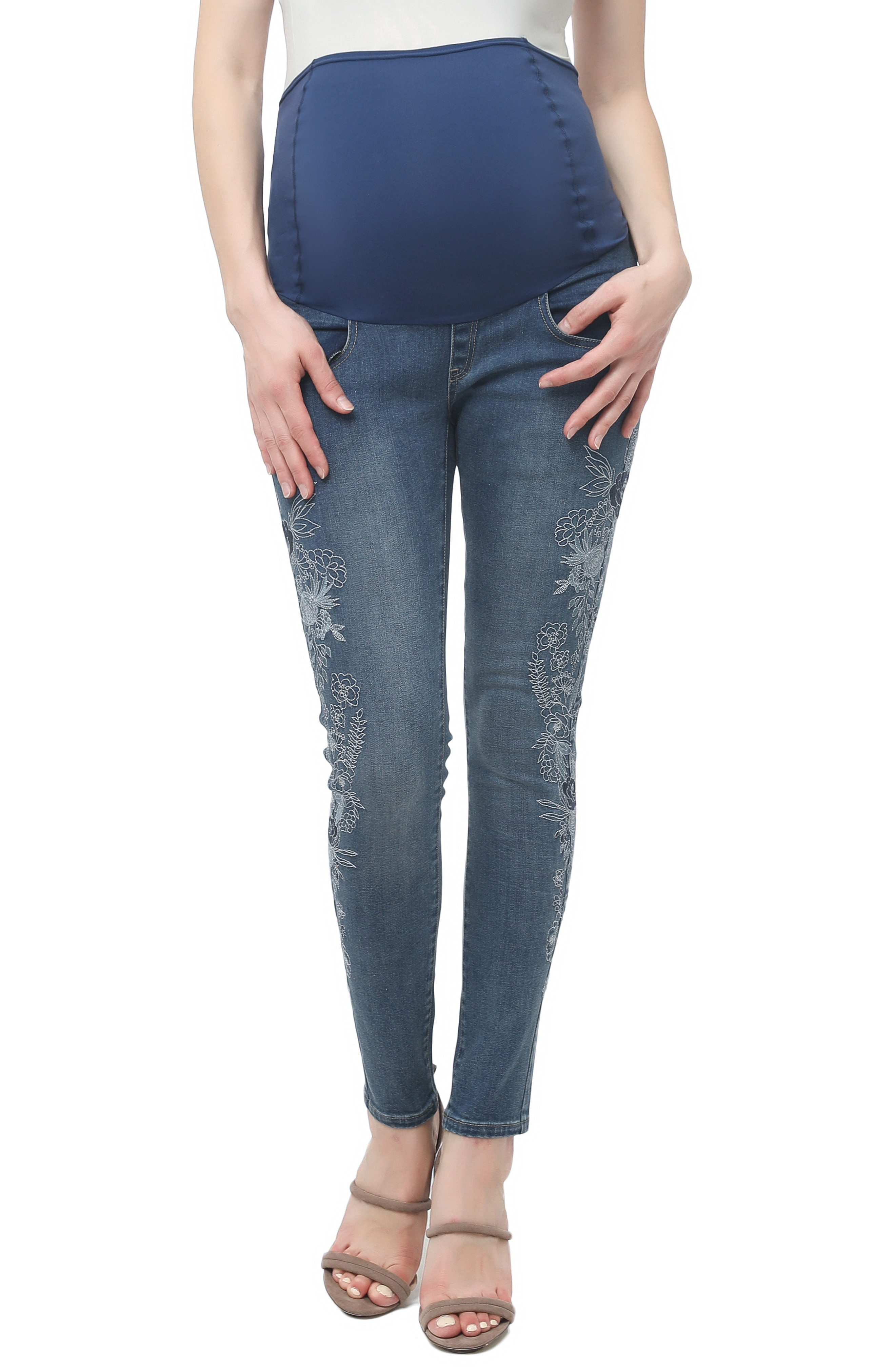 Kimi and Kai Floral Embroidered Maternity Skinny Jeans