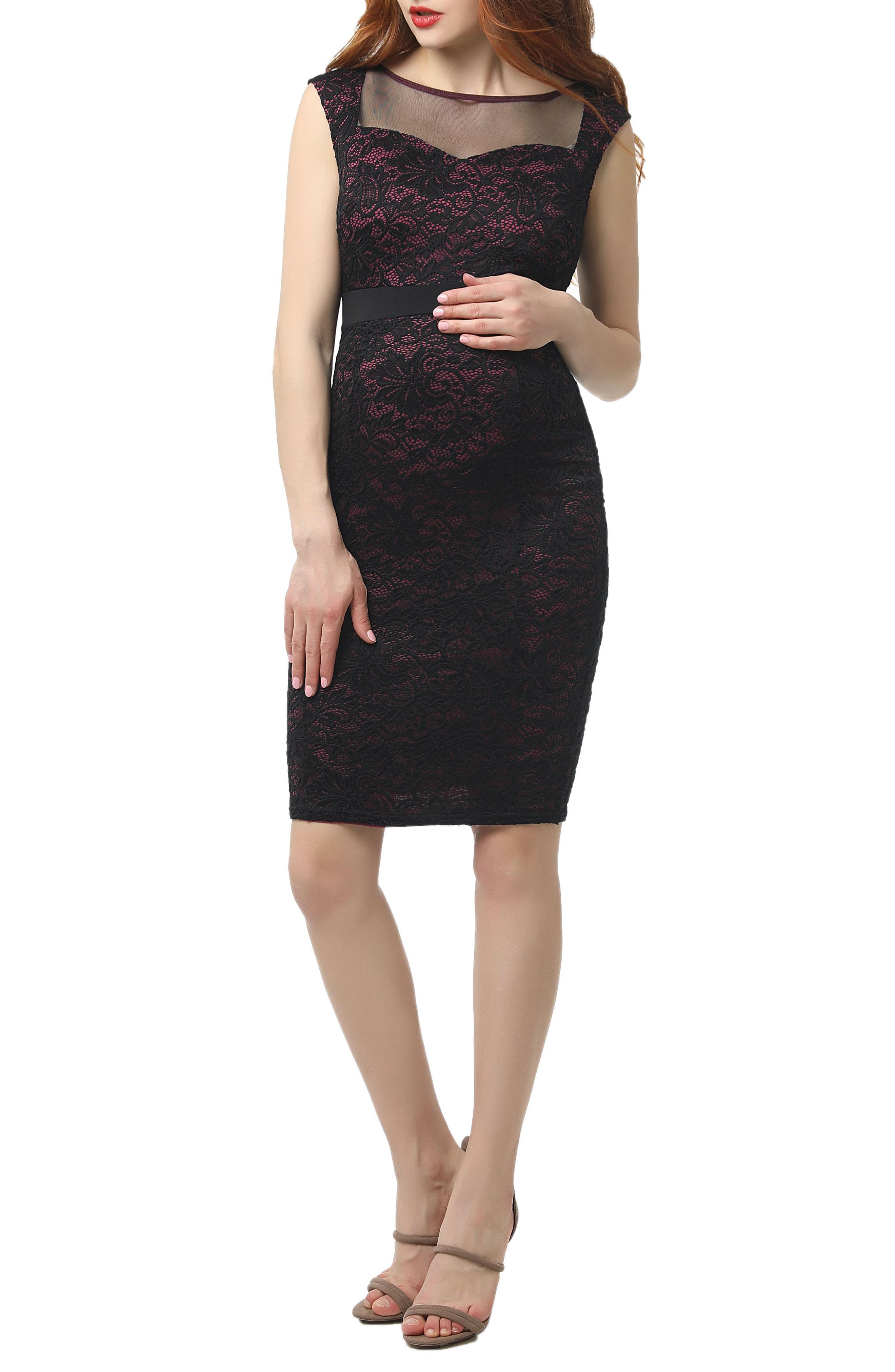 Kimi and Kai Violet Lace Body-Con Maternity Dress
