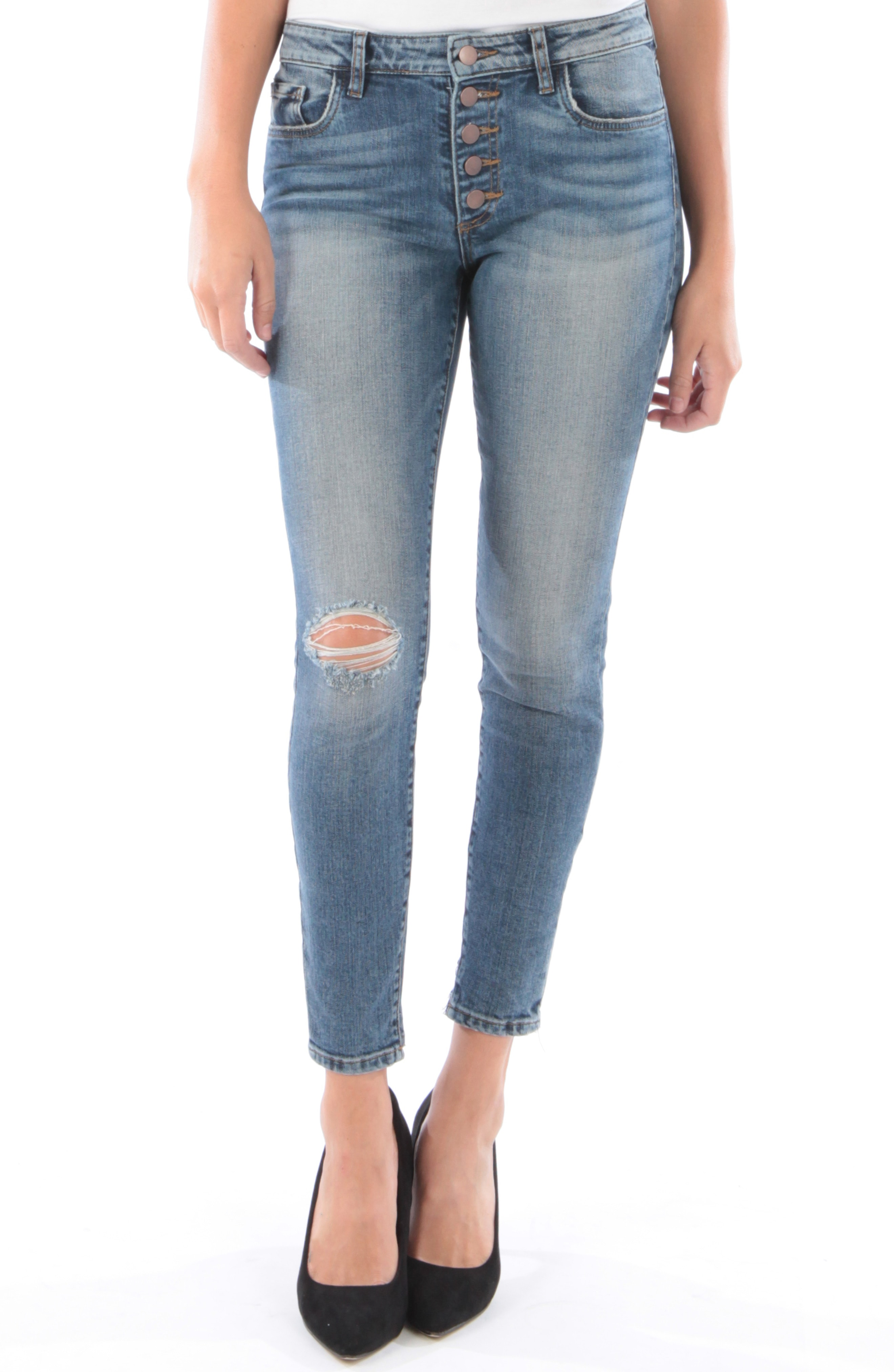 KUT from the Kloth Donna Ripped High Waist Ankle Skinny Jeans (Interested)