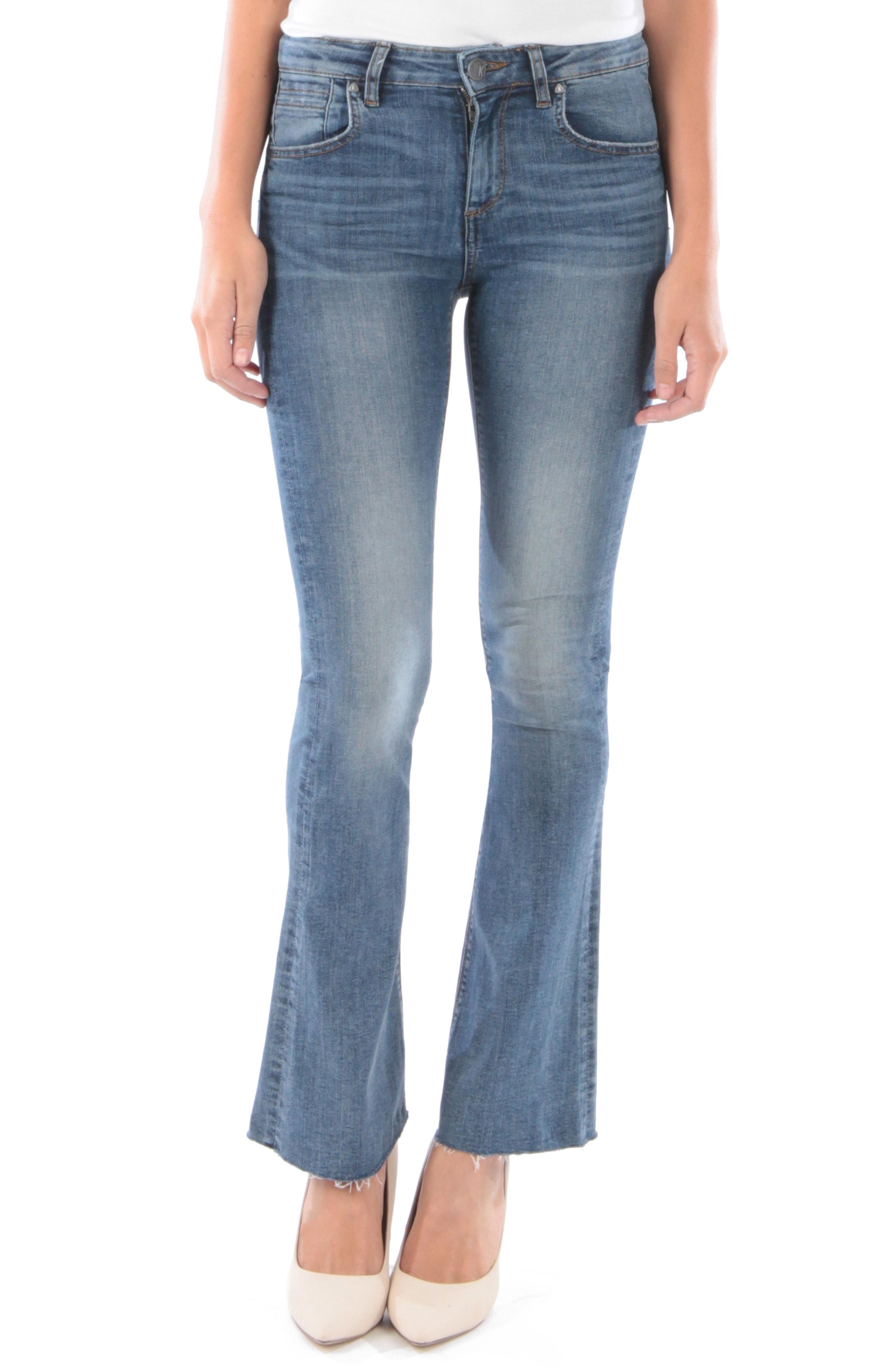 KUT from the Kloth Stella Raw Hem Flare Jeans (Rule)