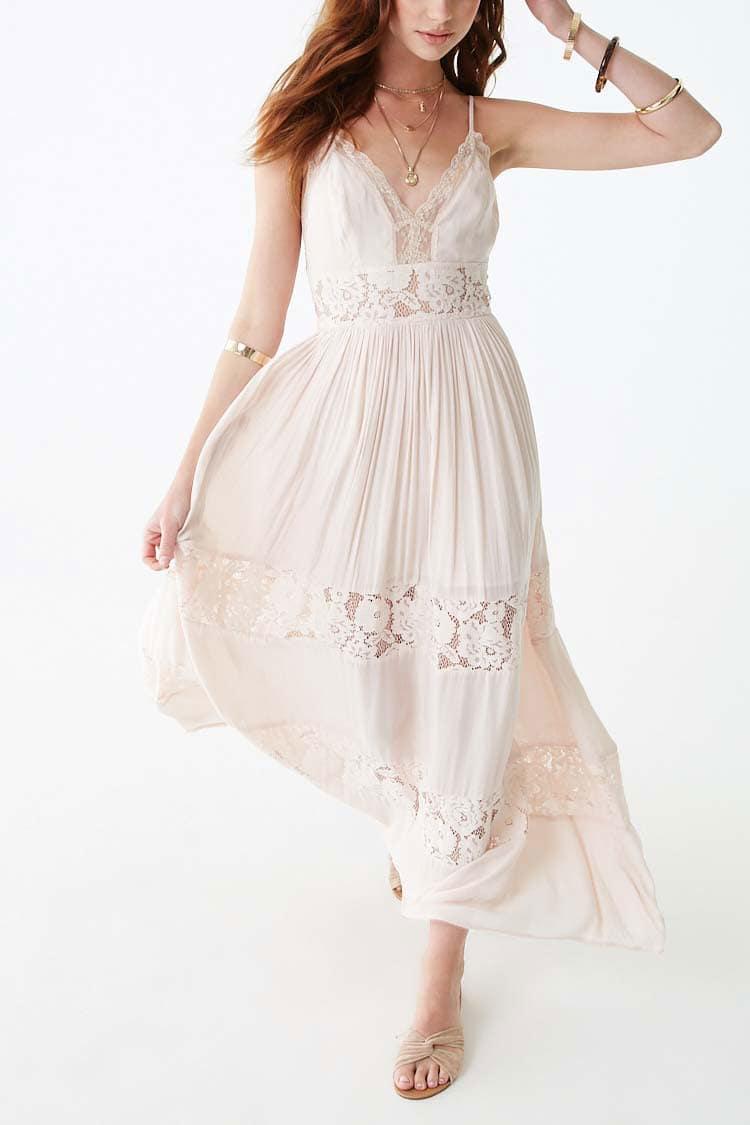 F21 Lace-Panel Maxi Dress