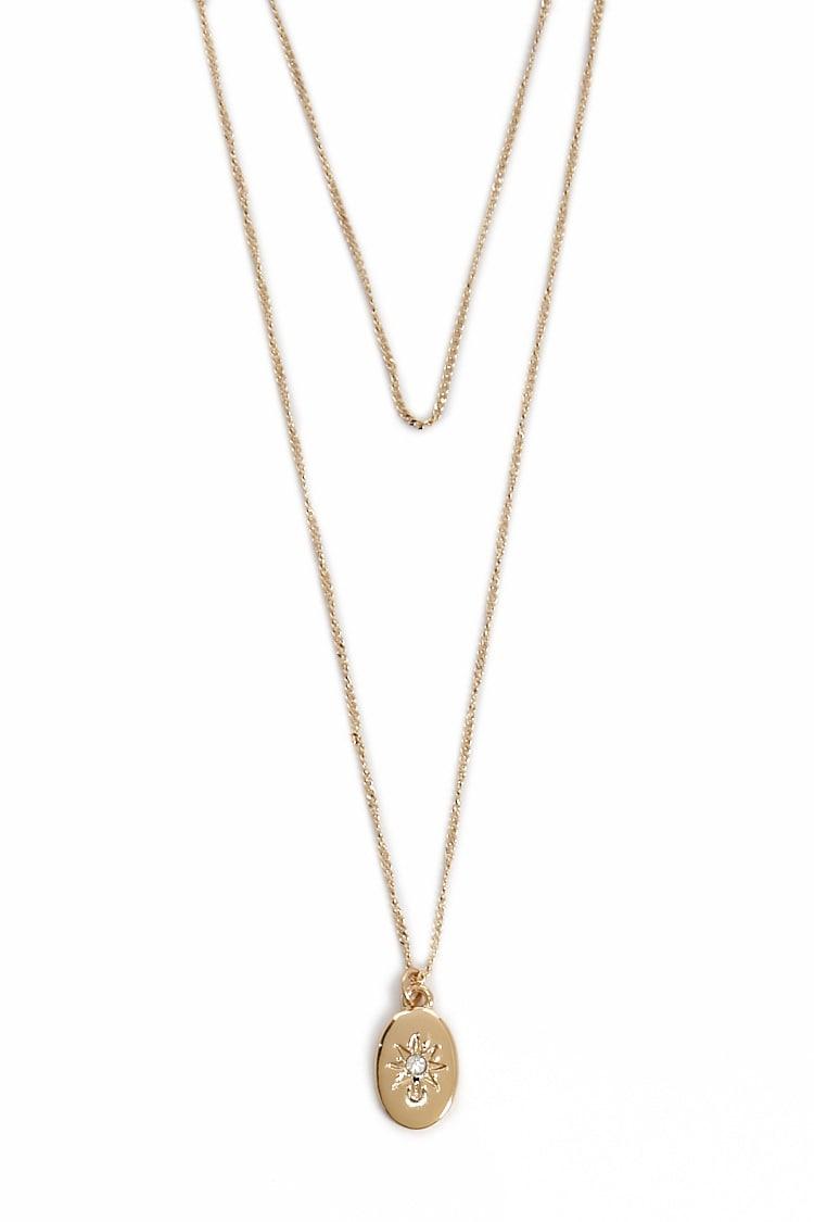 F21 Layered Sun Pendant Necklace