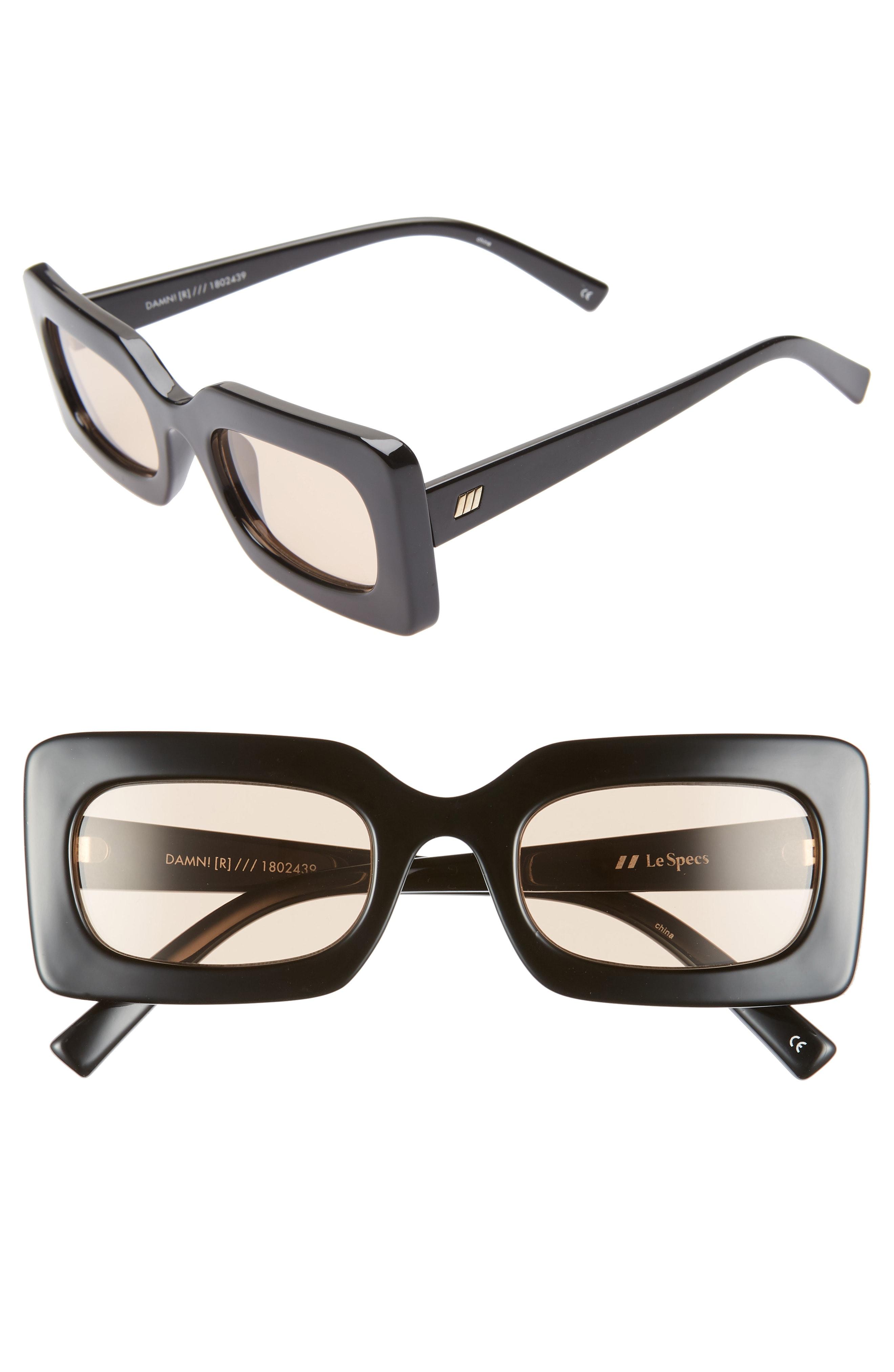 Le Specs 50mm Rectangle Sunglasses