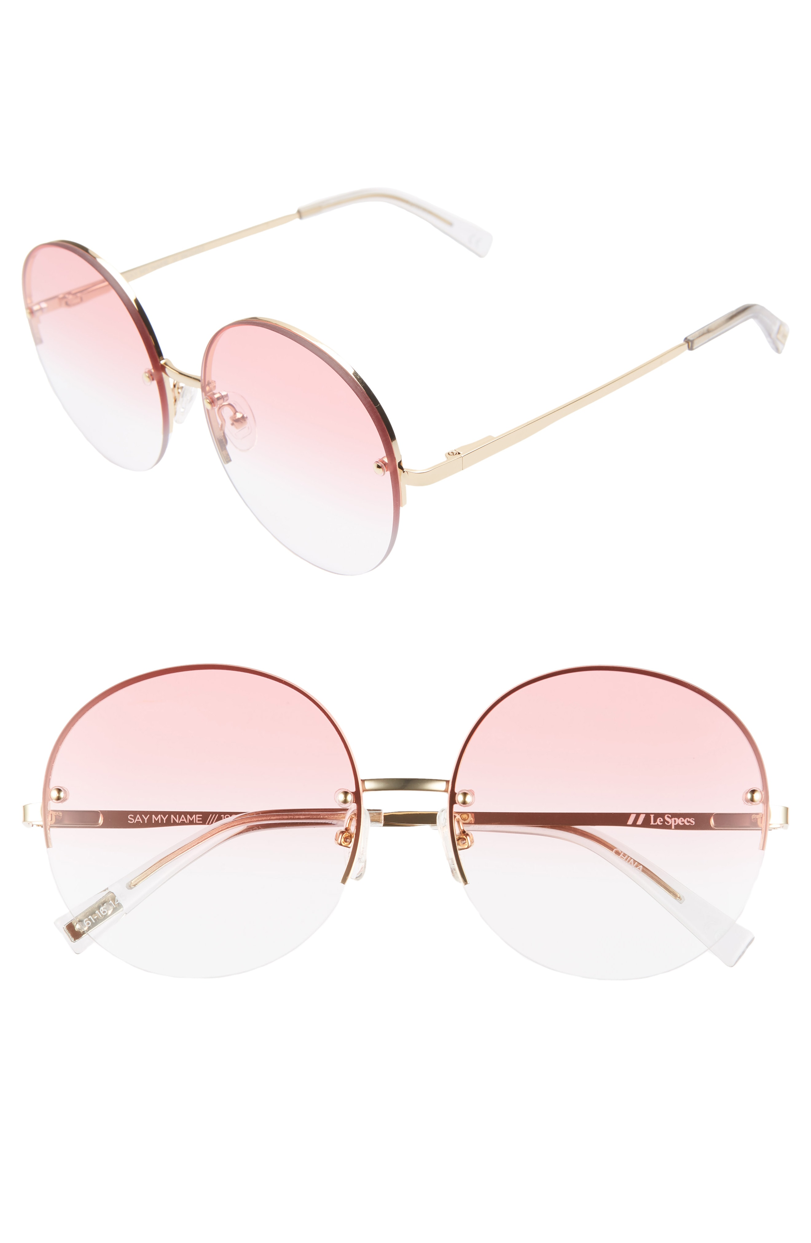 Le Specs Say My Name 61mm Semi Rimless Round Sunglasses