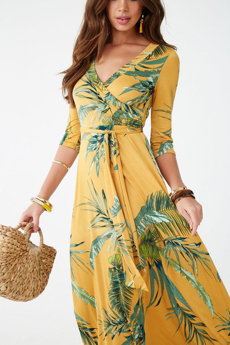 F21 Leaf Print Surplice Maxi Dress