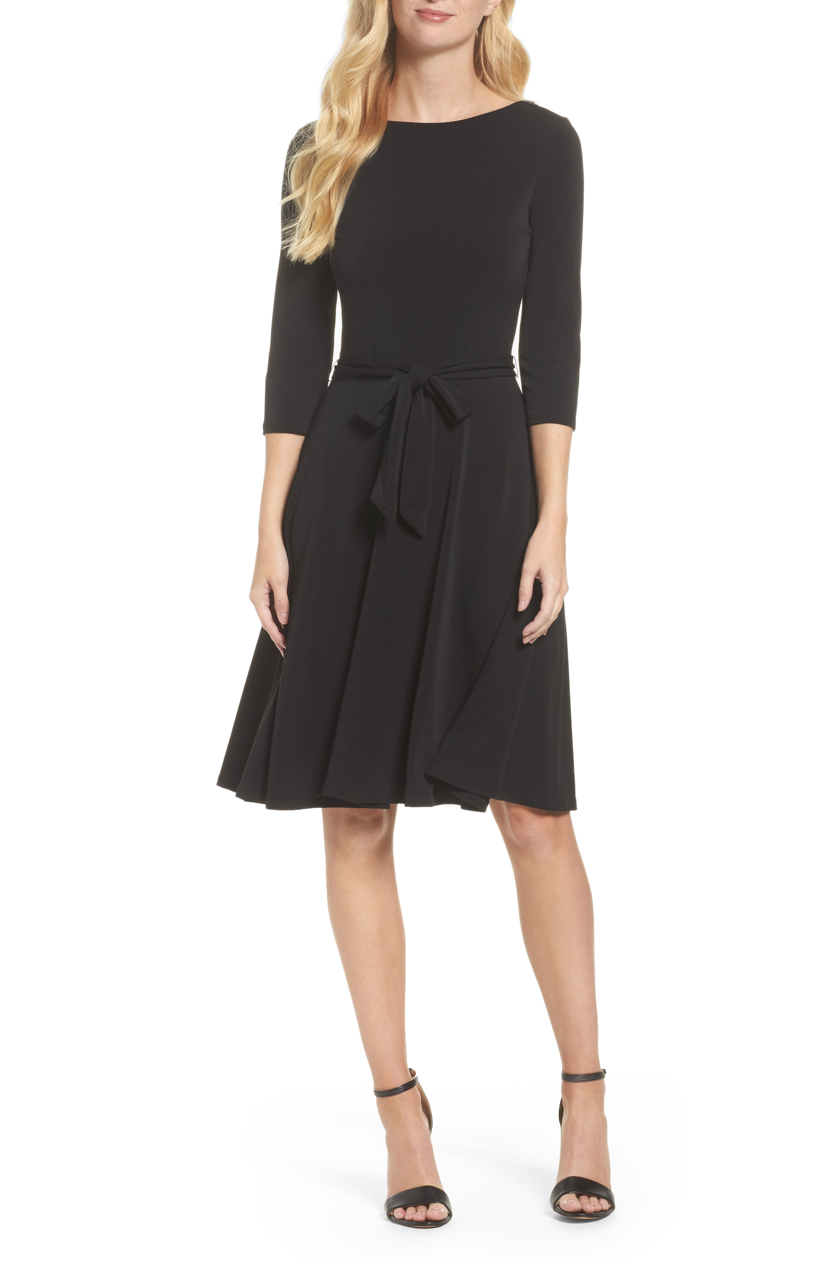 Leota Belted Print Jersey A-Line Dress