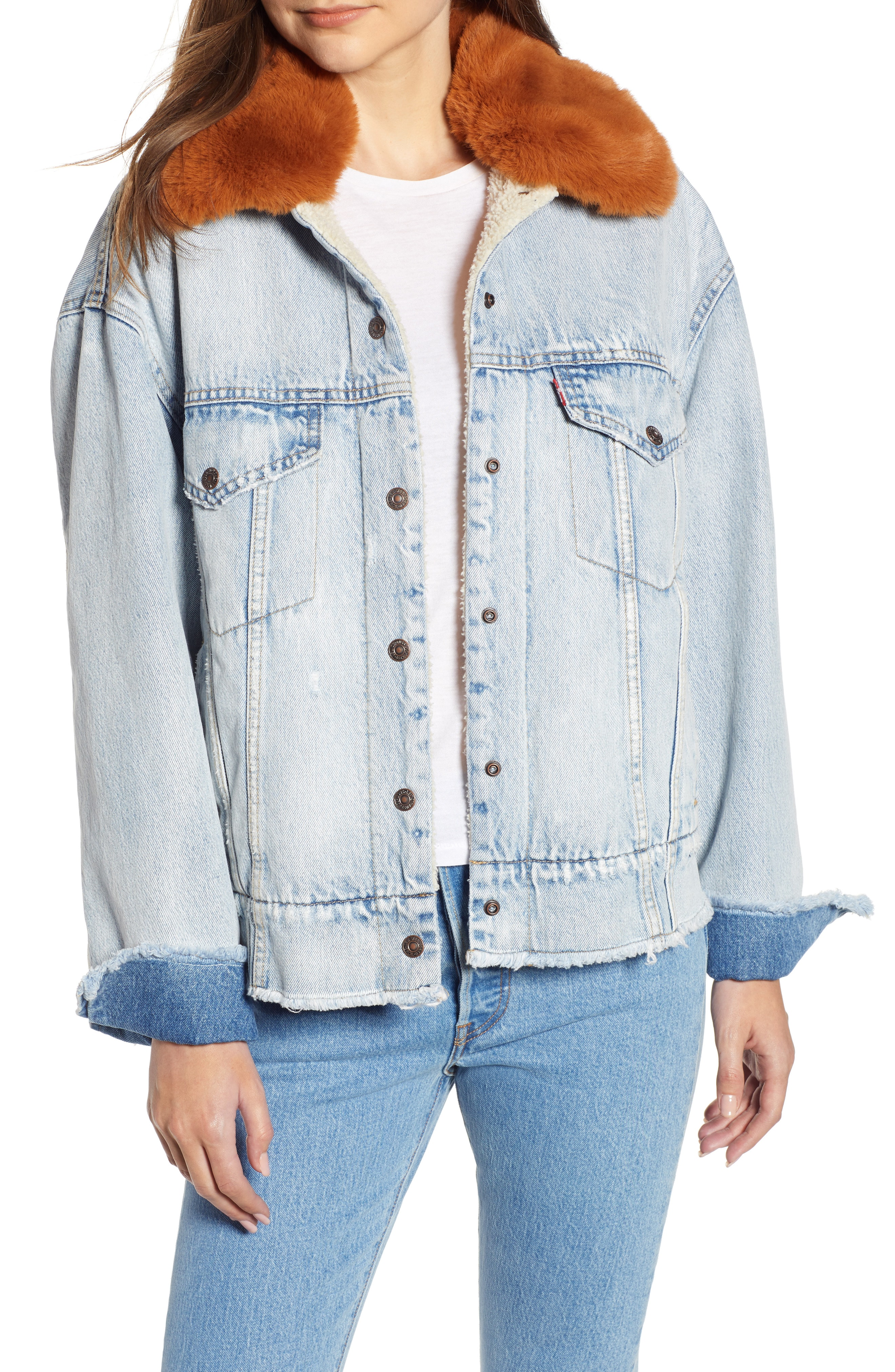 Levi's Oversize Faux Shearling Lined Denim Trucker Jacket with Removable Faux Fur Collar