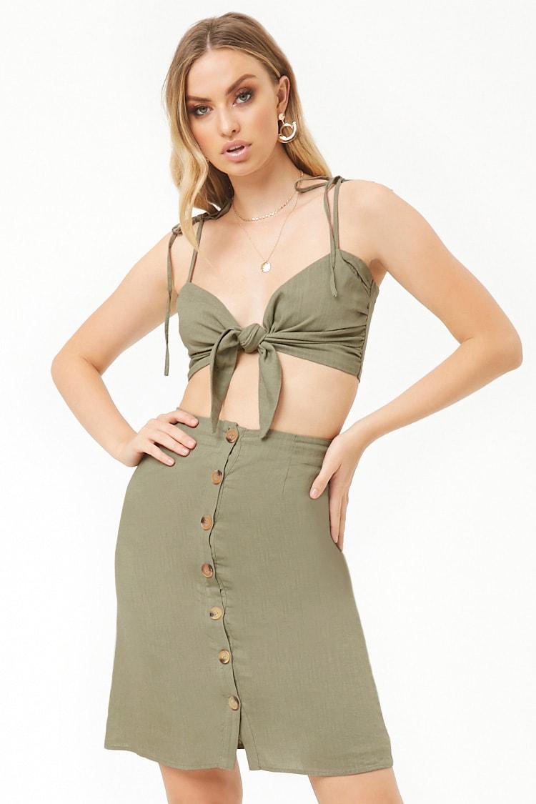 F21 Linen-Blend Crop Top & Skirt Set