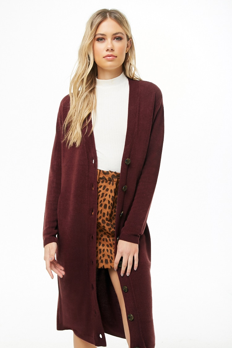 F21 Longline Button-Front Cardigan