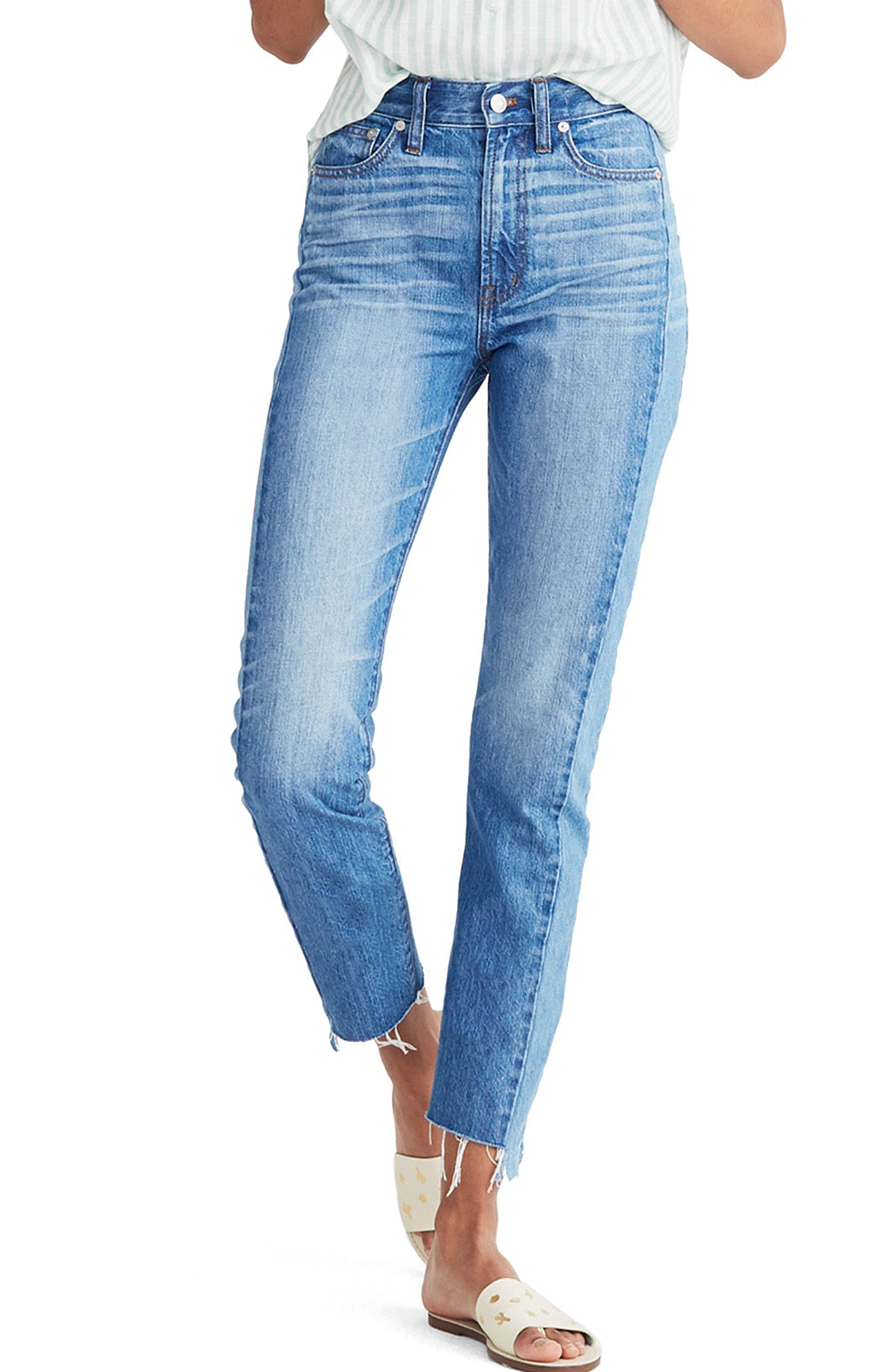 Madewell Perfect Summer High Waist Pieced Jeans (Oakdale Wash)
