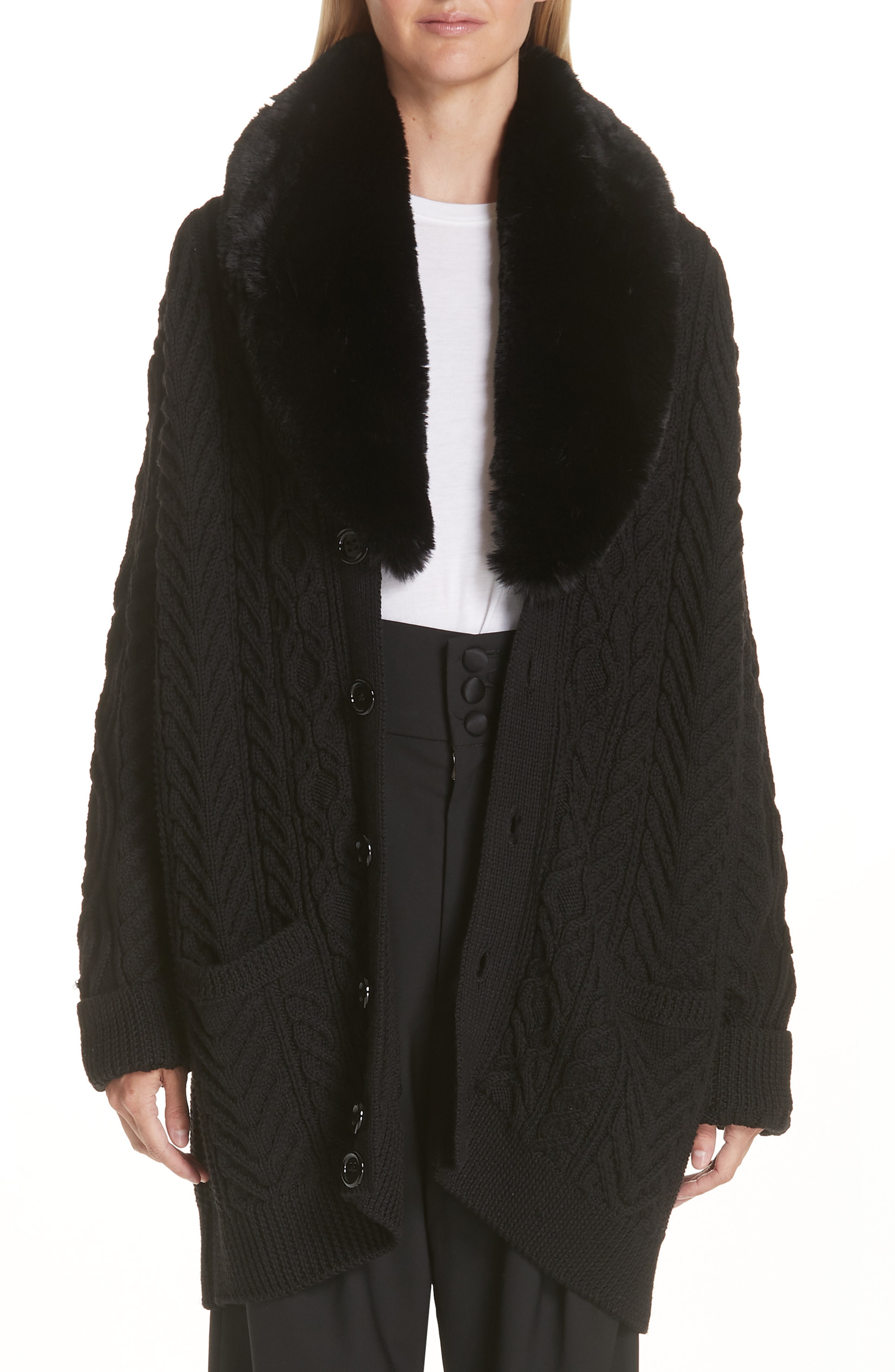 MARC JACOBS Wool Cardigan with Removable Faux Fur Collar