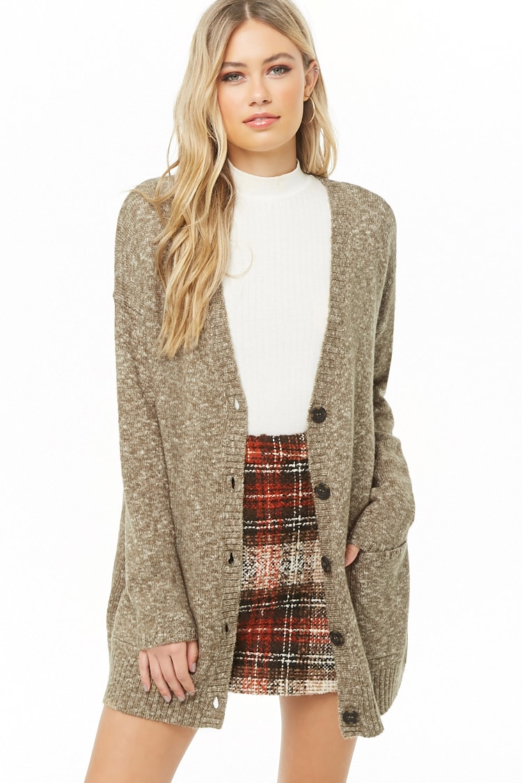 F21 Marled Button-Front Cardigan