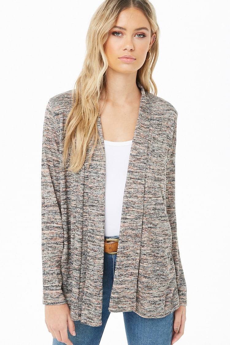 F21 Marled Open-Front Cardigan