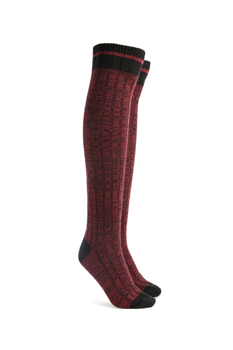 F21 Marled Over-the-Knee Socks