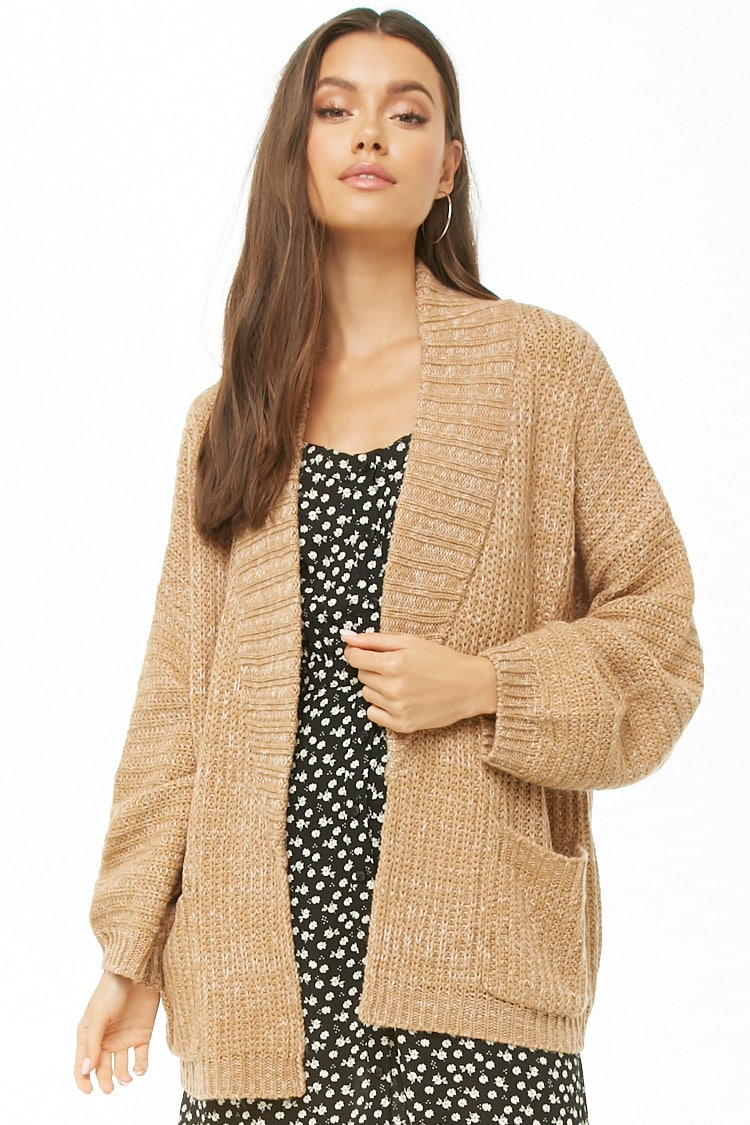 F21 Marled Ribbed Open-Front Cardigan