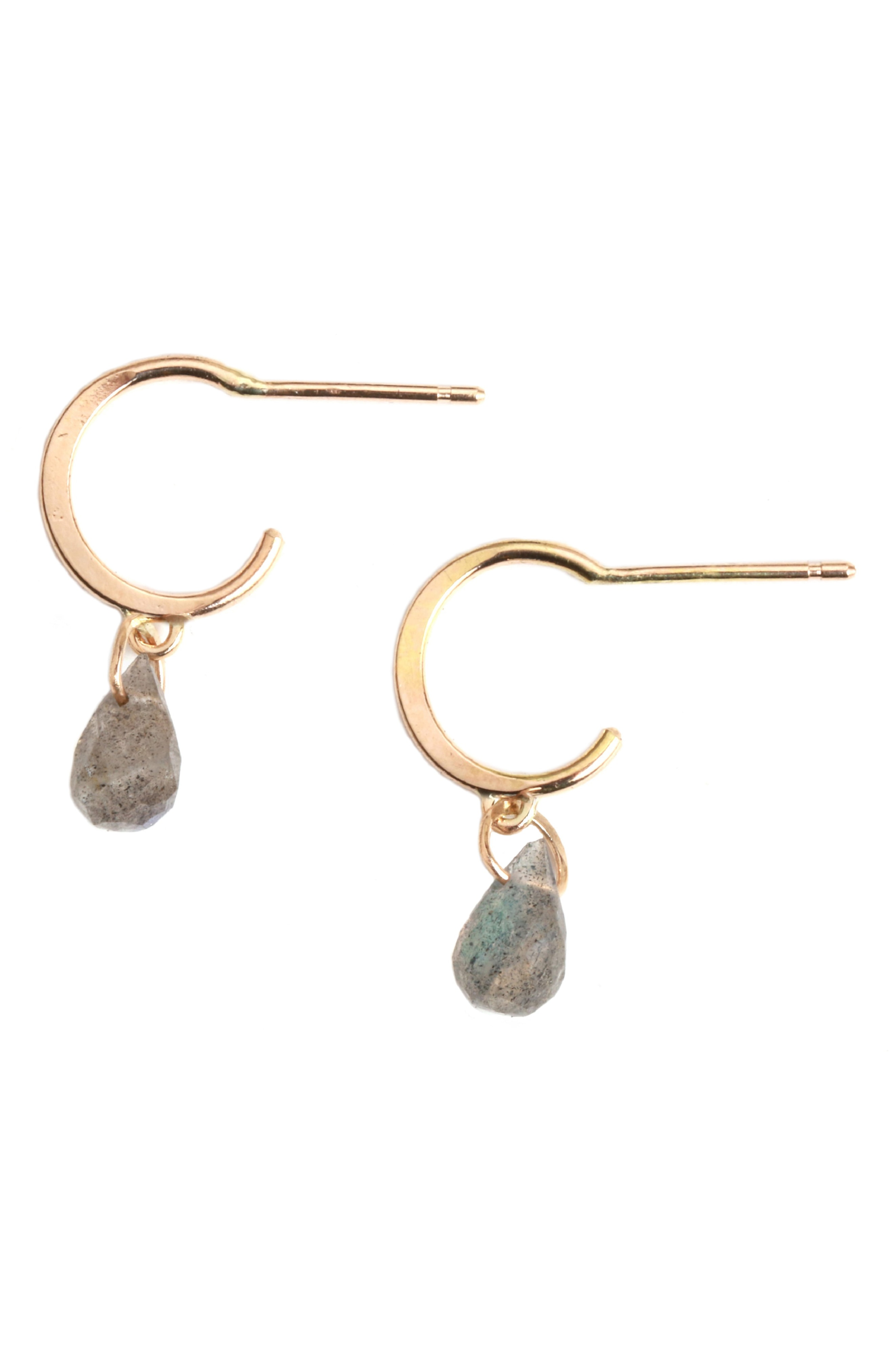Melissa Joy Manning Mini Hoop Stone Drop Earrings