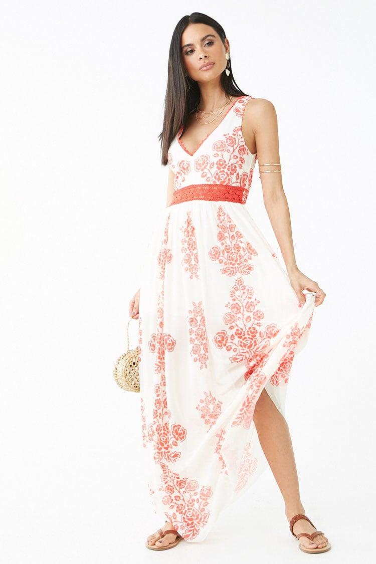 F21 Mesh Floral Print Maxi Dress