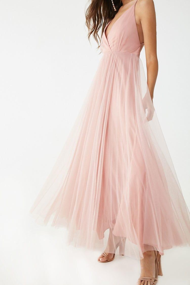 F21 Mesh Surplice Gown