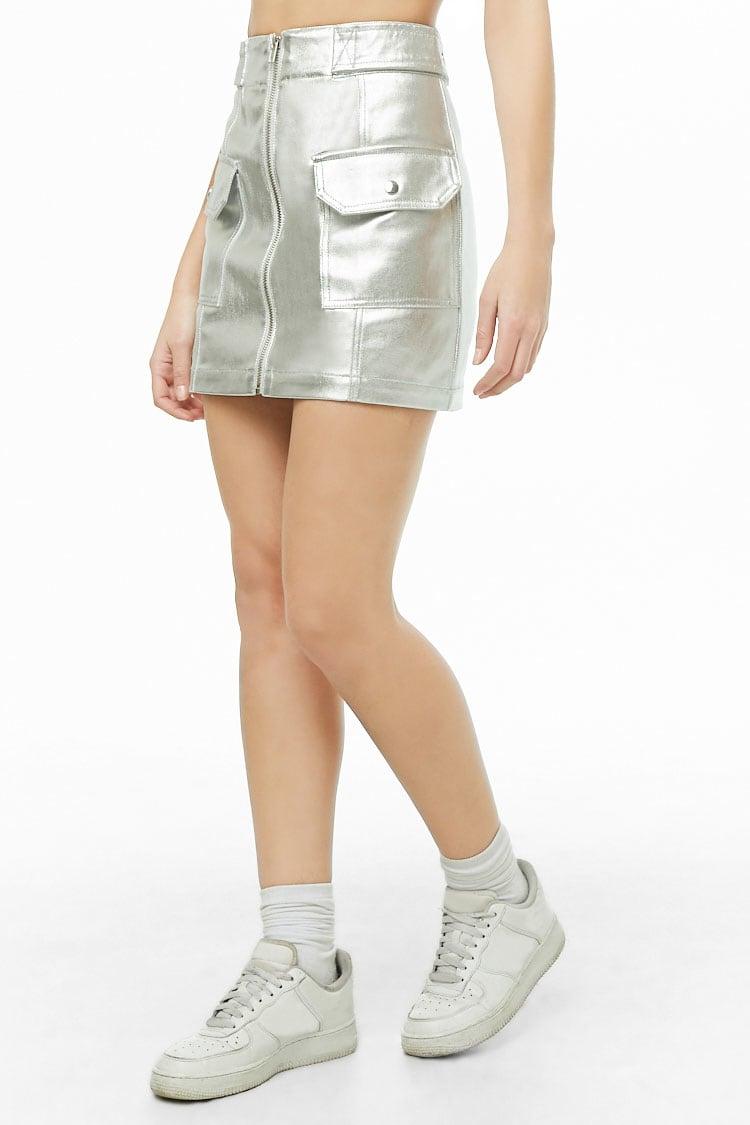 F21 Metallic Denim Skirt
