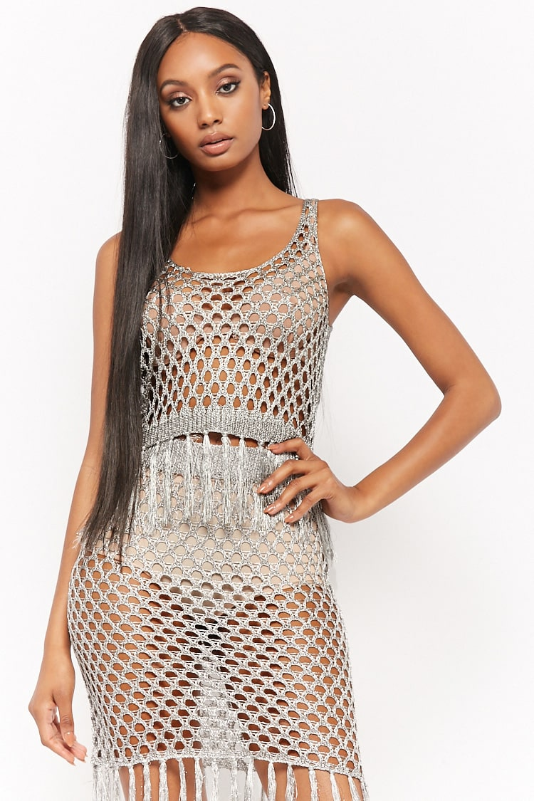 F21 Metallic Fringe Top & Skirt Set