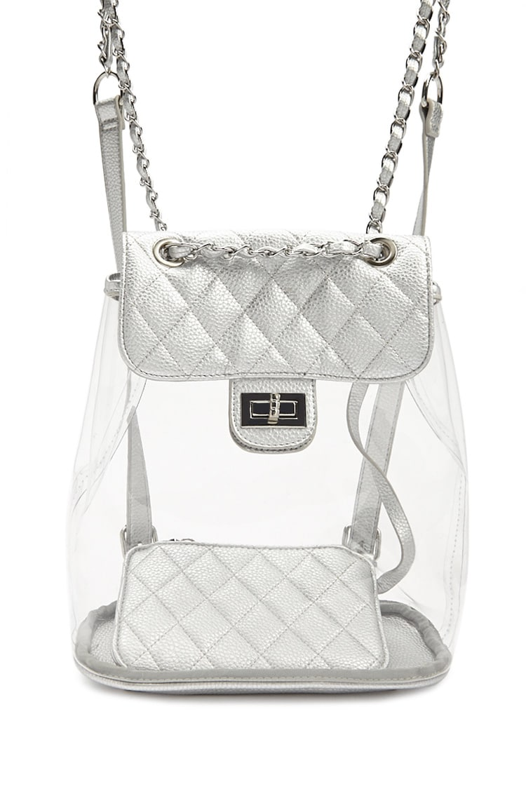 F21 Metallic Quilted Faux Leather Backpack & Wallet