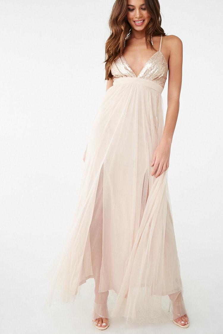 F21 Metallic Sequin & Tulle Maxi Dress