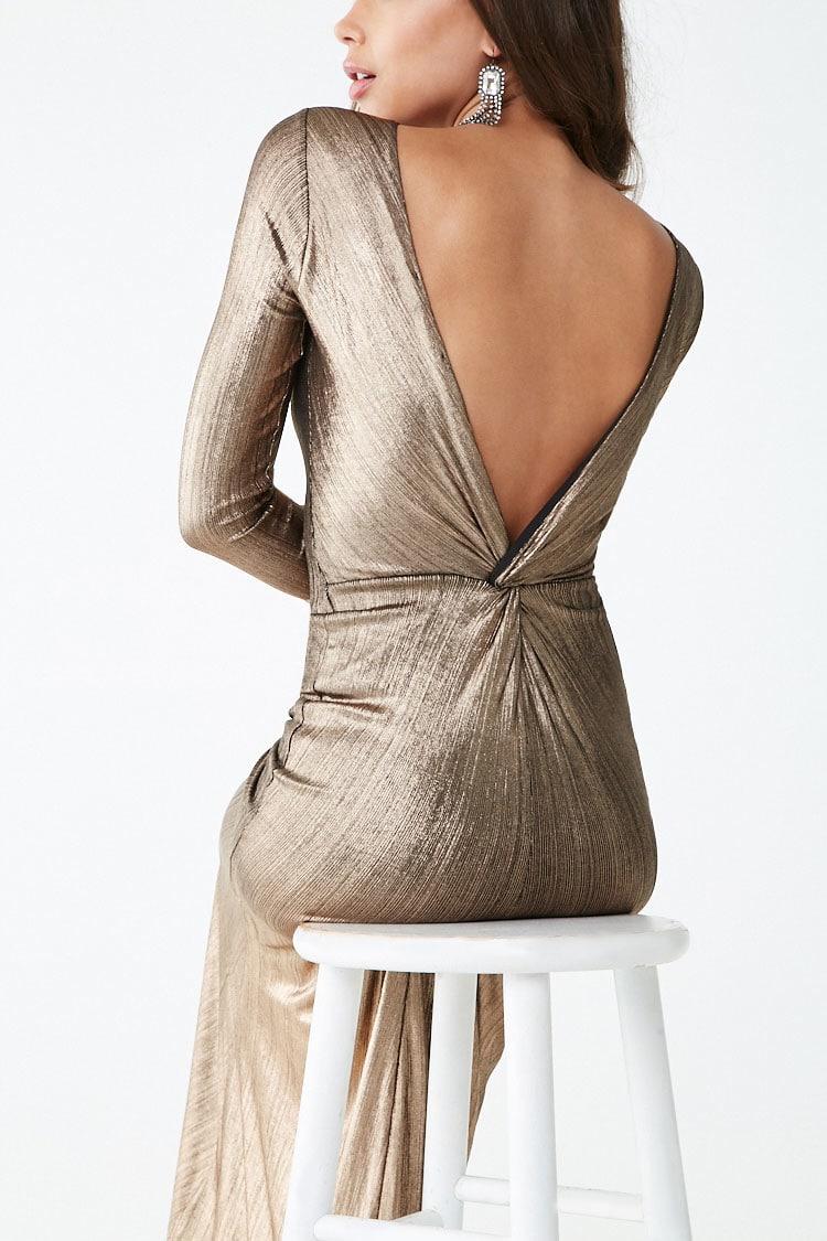 F21 Metallic Twist-Back Gown