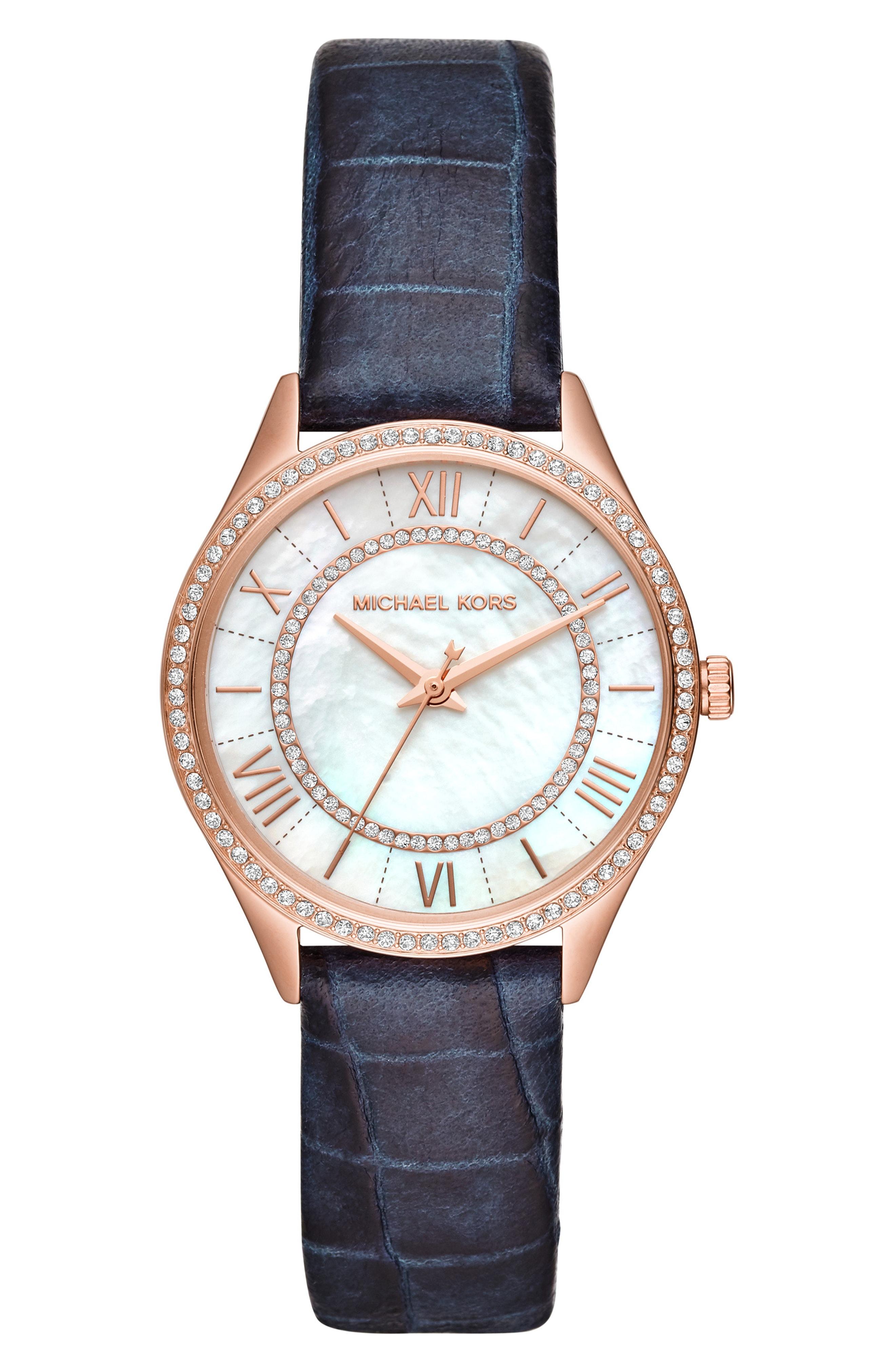 Michael Kors Lauryn Leather Strap Watch, 33mm