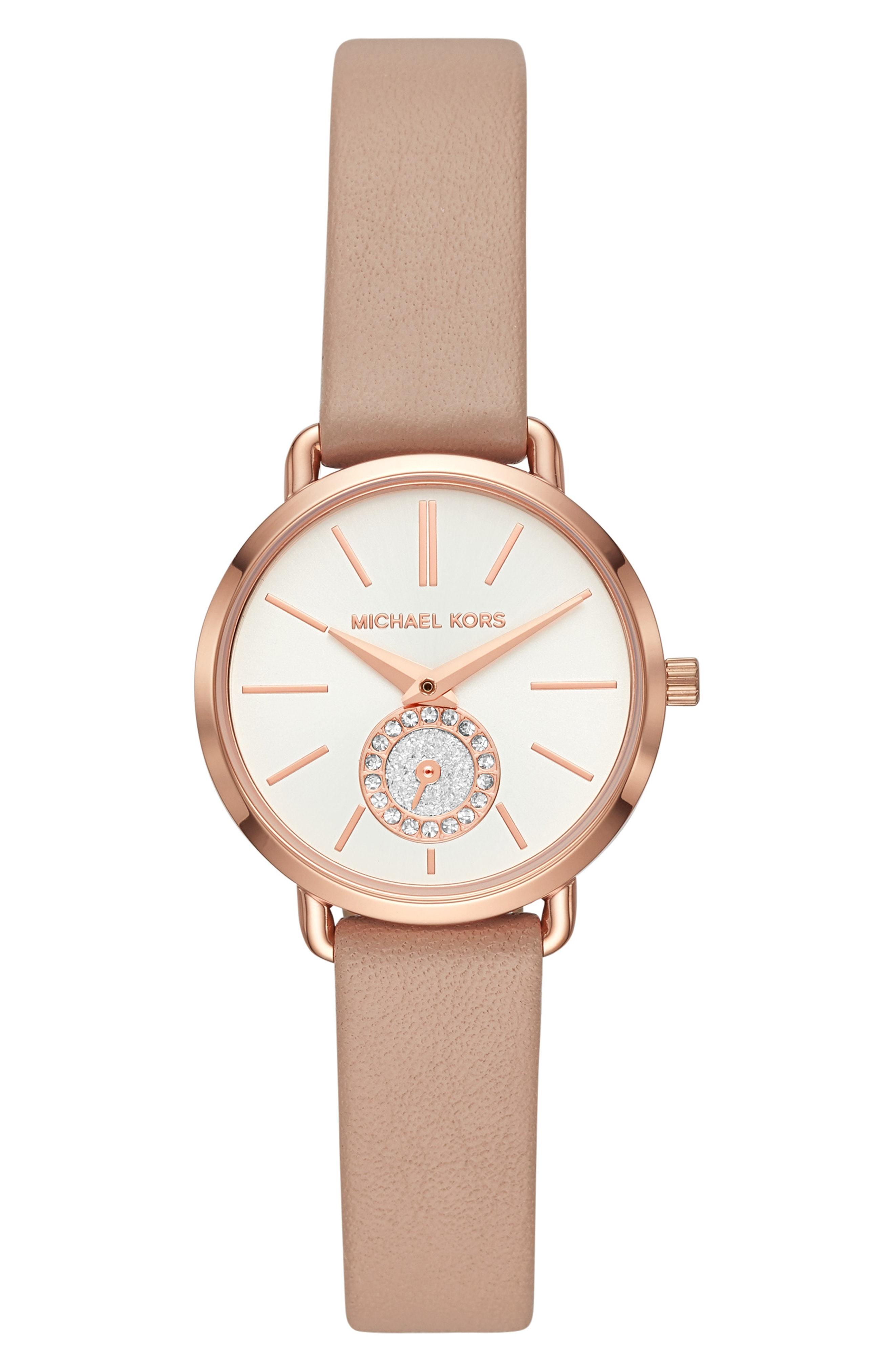 Michael Kors Mini Portia Leather Strap Watch, 28mm