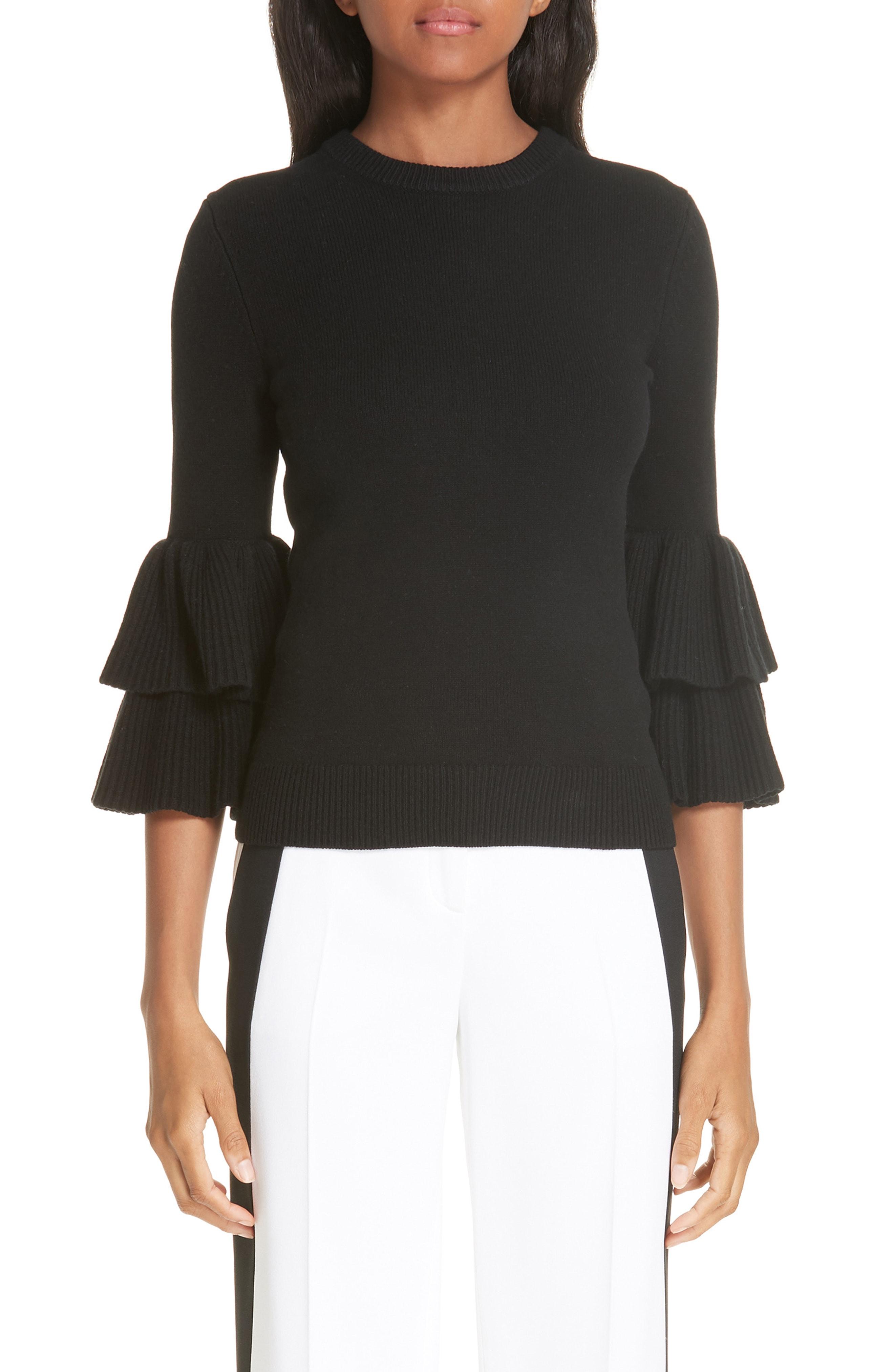 Michael Kors Tiered Ruffle Sleeve Ribbed Sweater