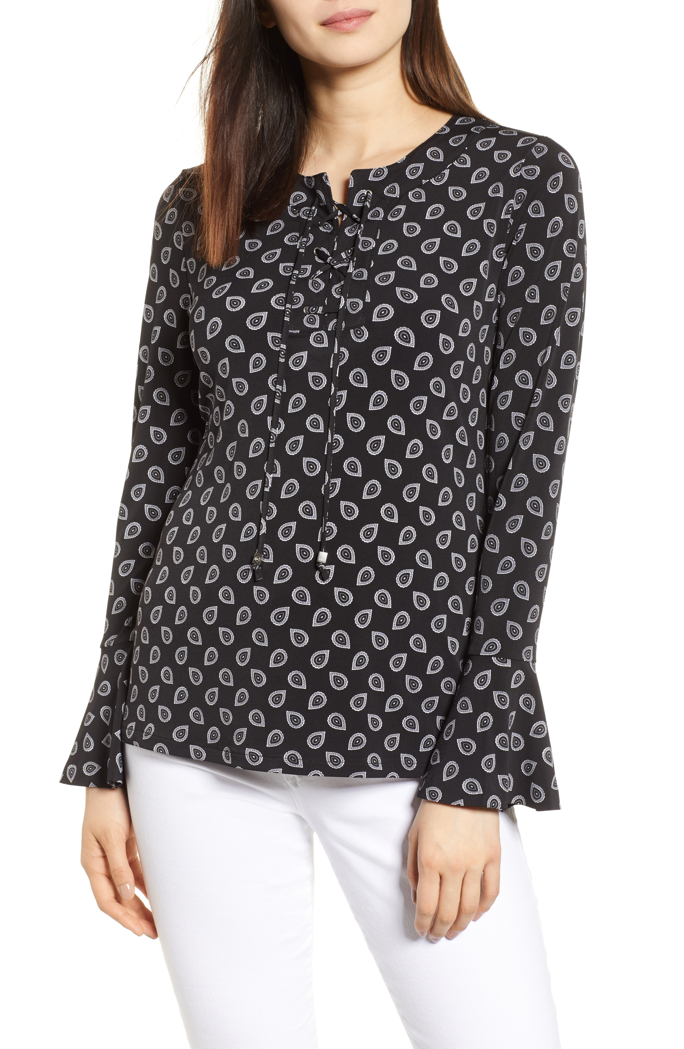 MICHAEL Michael Kors Flare Cuff Lace-Up Top