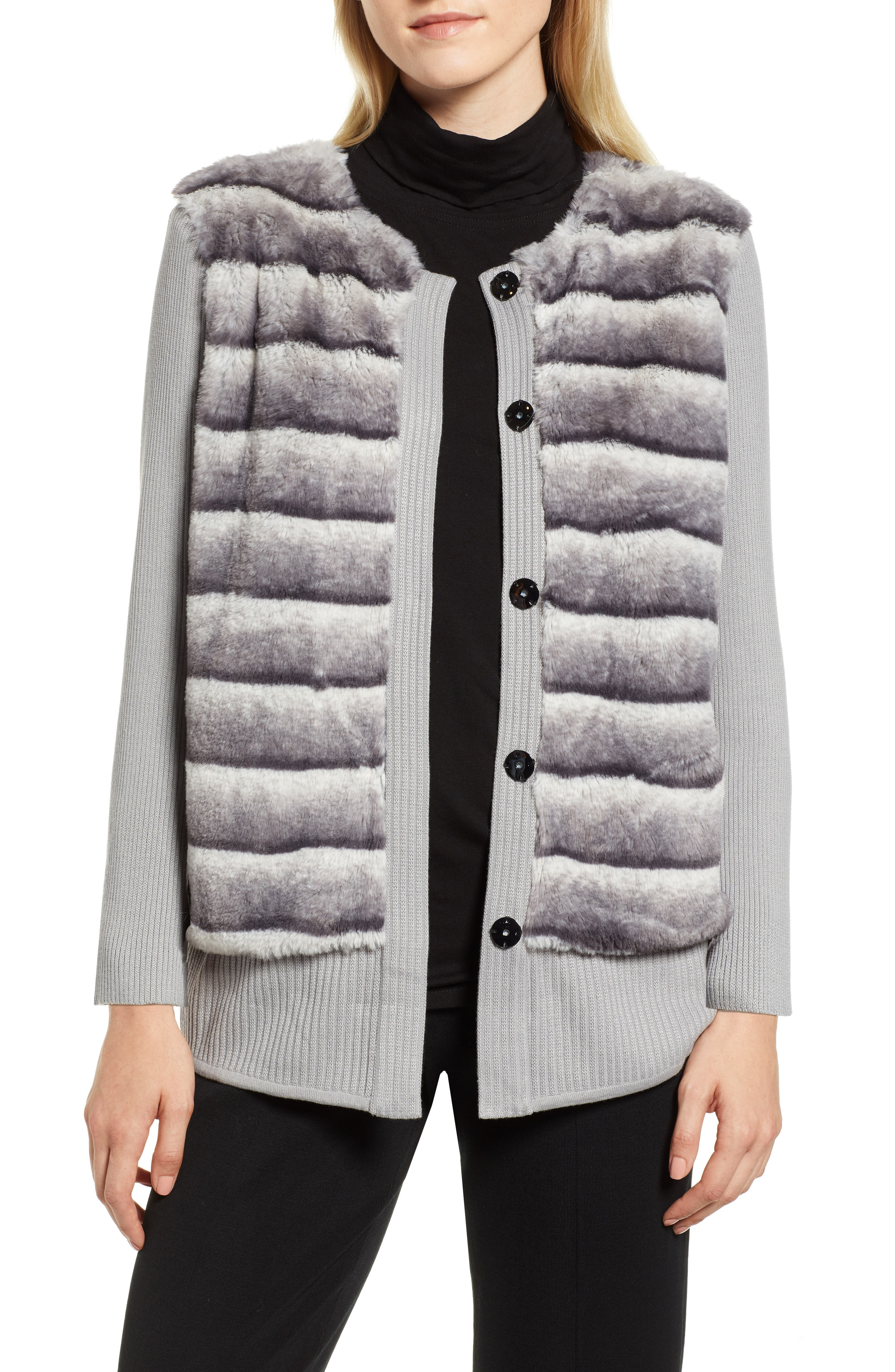 Ming Wang Faux Fur Front Knit Jacket