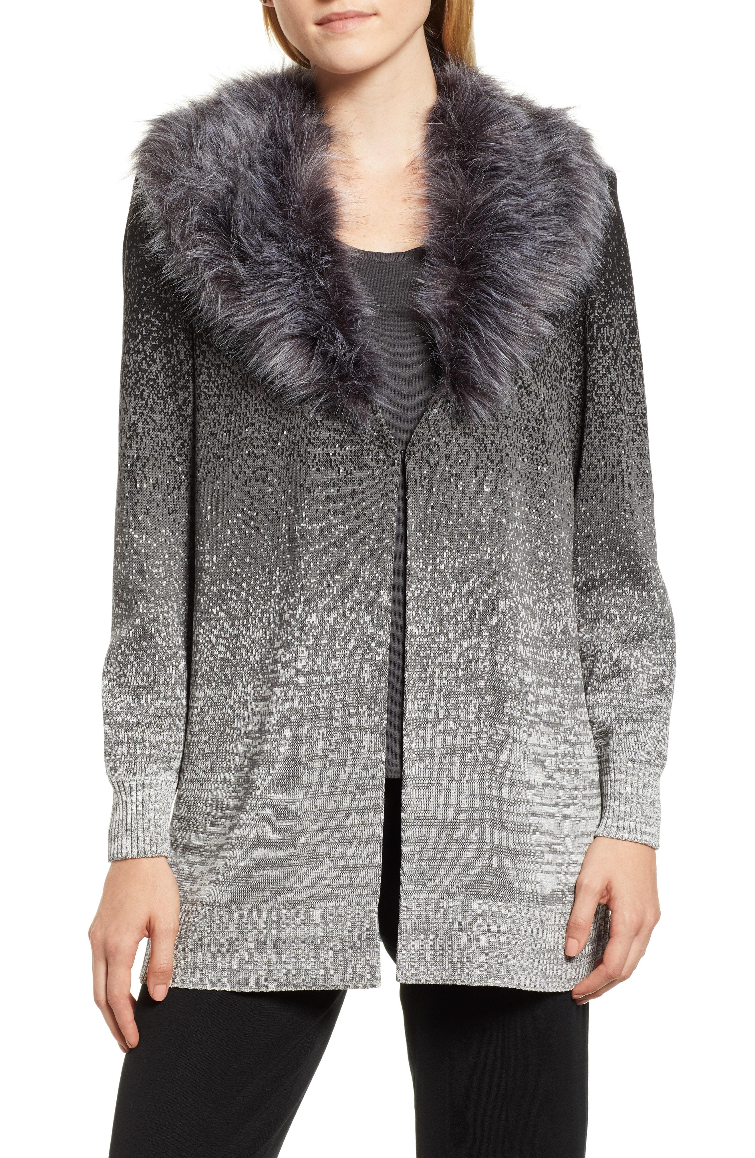 Ming Wang Faux Fur Trim Knit Jacket