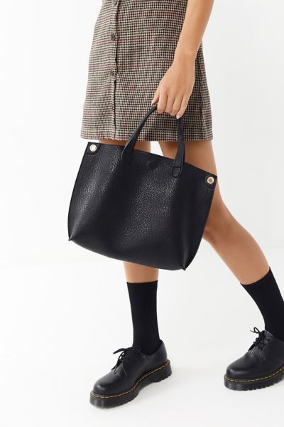 Mini Reversible Faux Leather Tote Bag