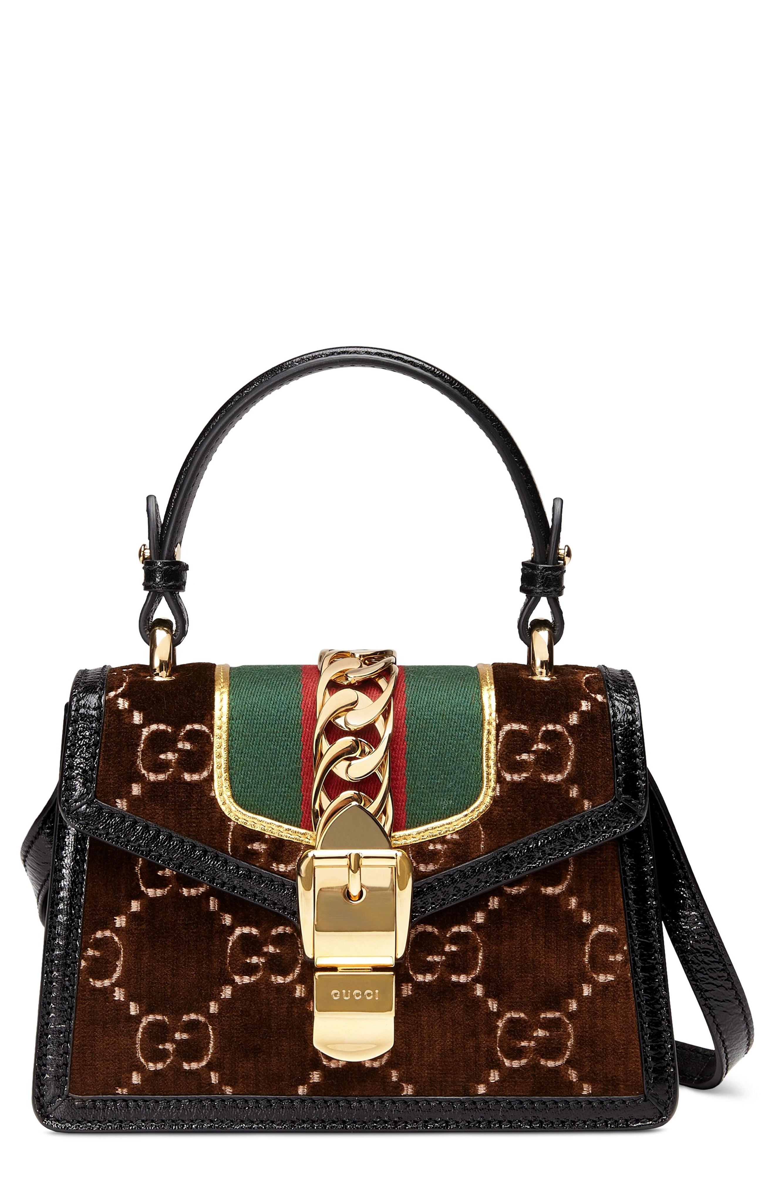Gucci Mini Sylvie Velvet Top Handle Bag