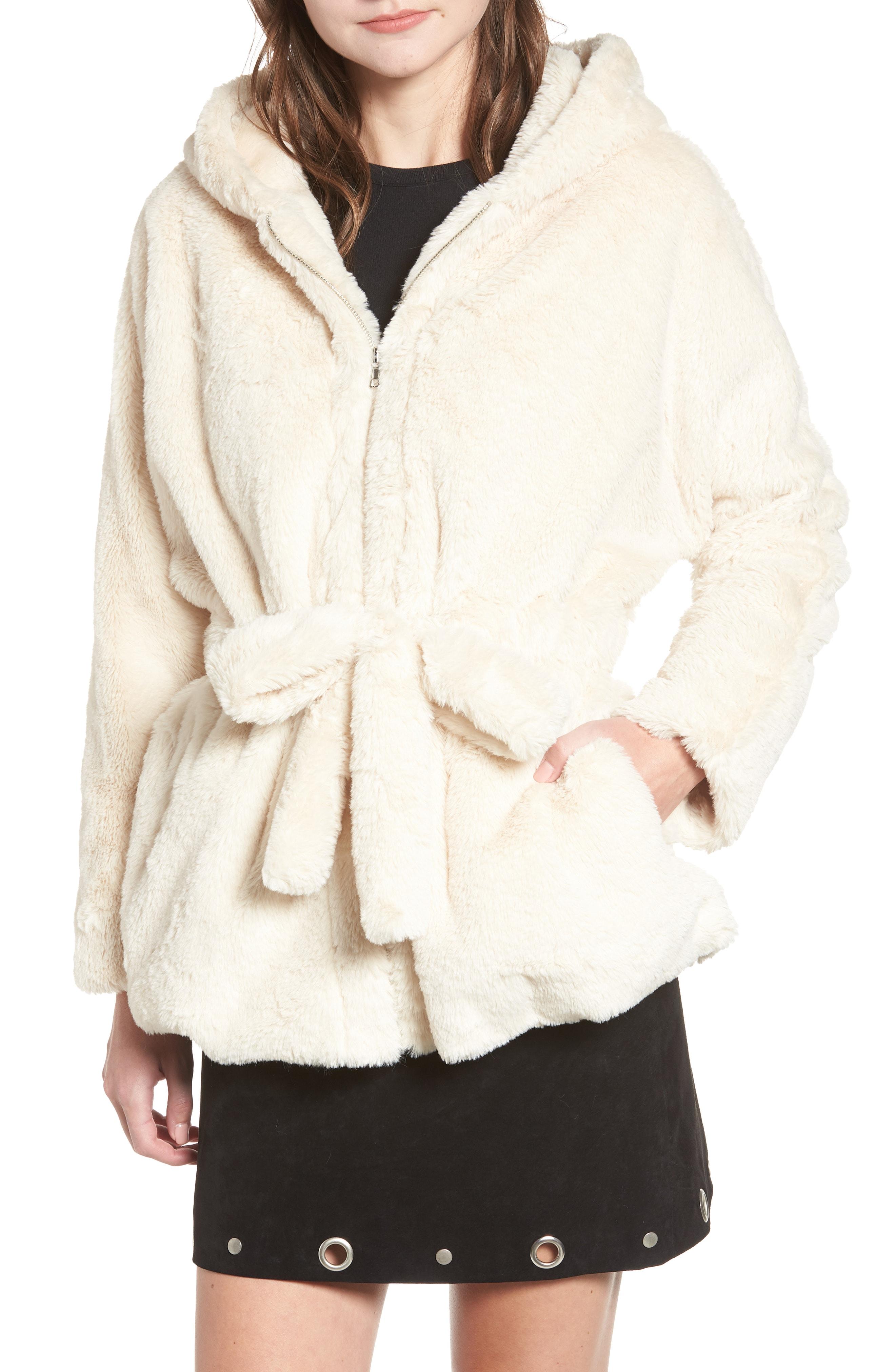 MOON RIVER Faux Fur Hooded Jacket