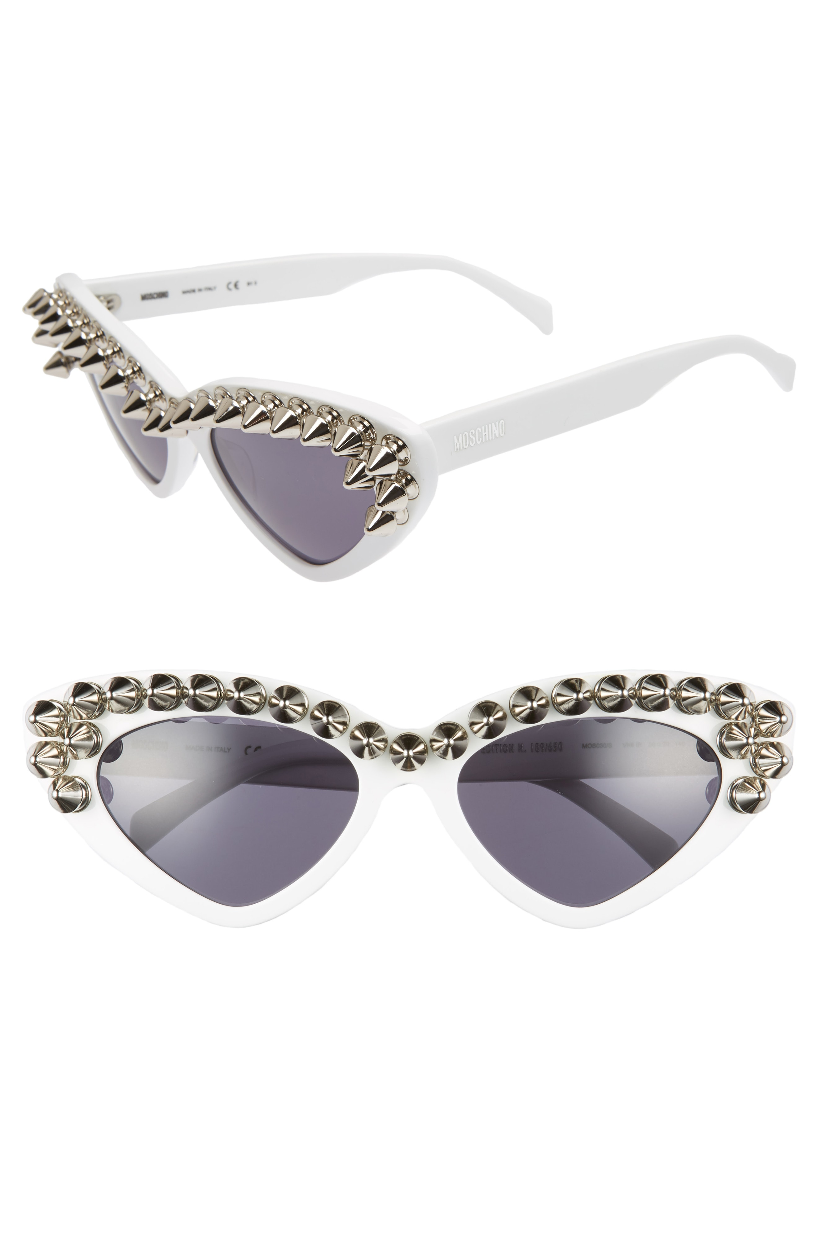 Moschino 59mm Studded Cat Eye Polarized Sunglasses