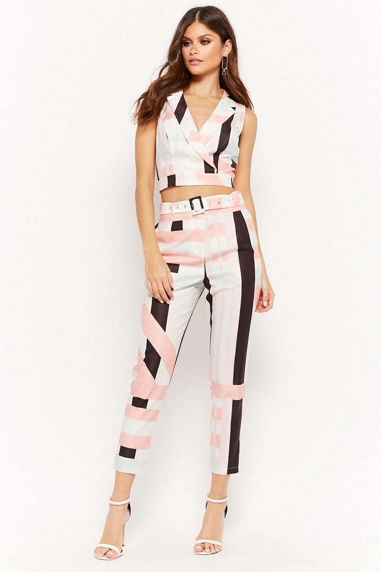 F21 Multi-Striped Crop Top & Pants Set